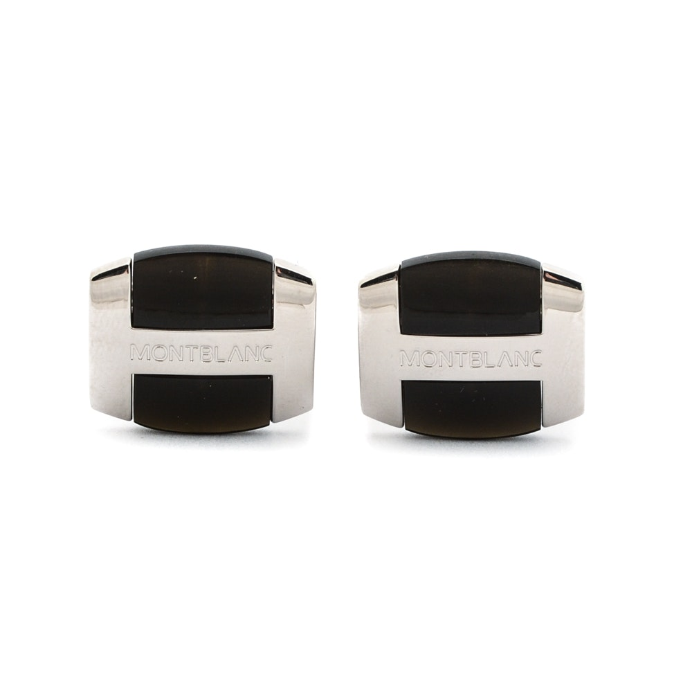 Sterling Silver and Obsidian Mont Blanc Cufflinks