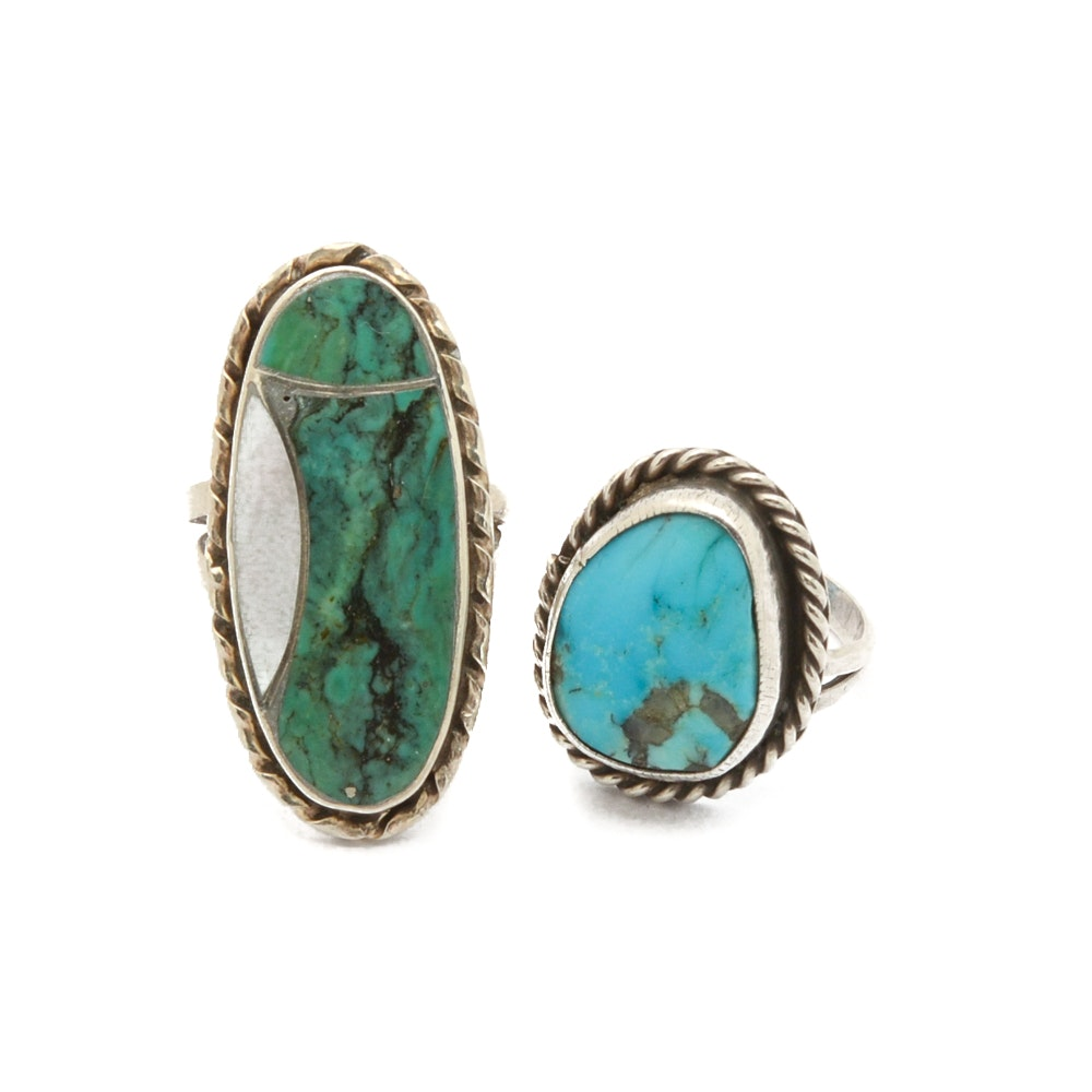 Sterling Silver Turquoise and Mother of Pearl Rings Including Norman Lee Diné