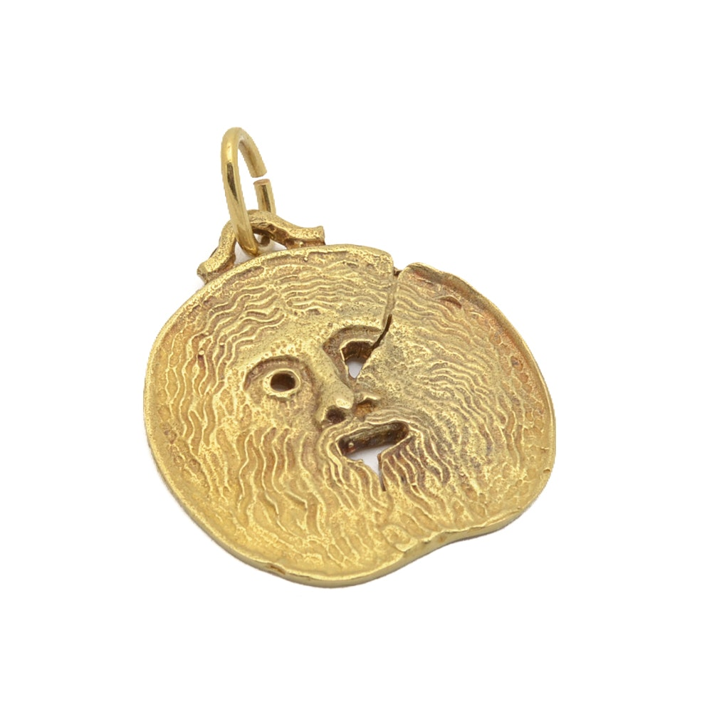 18K Yellow Gold Signed Face Pendant