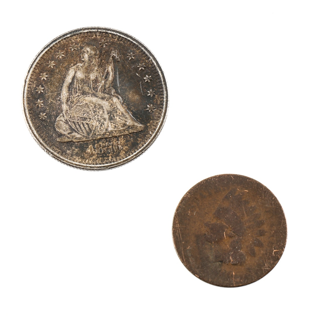 1876 S Liberty Seated Silver Quarter