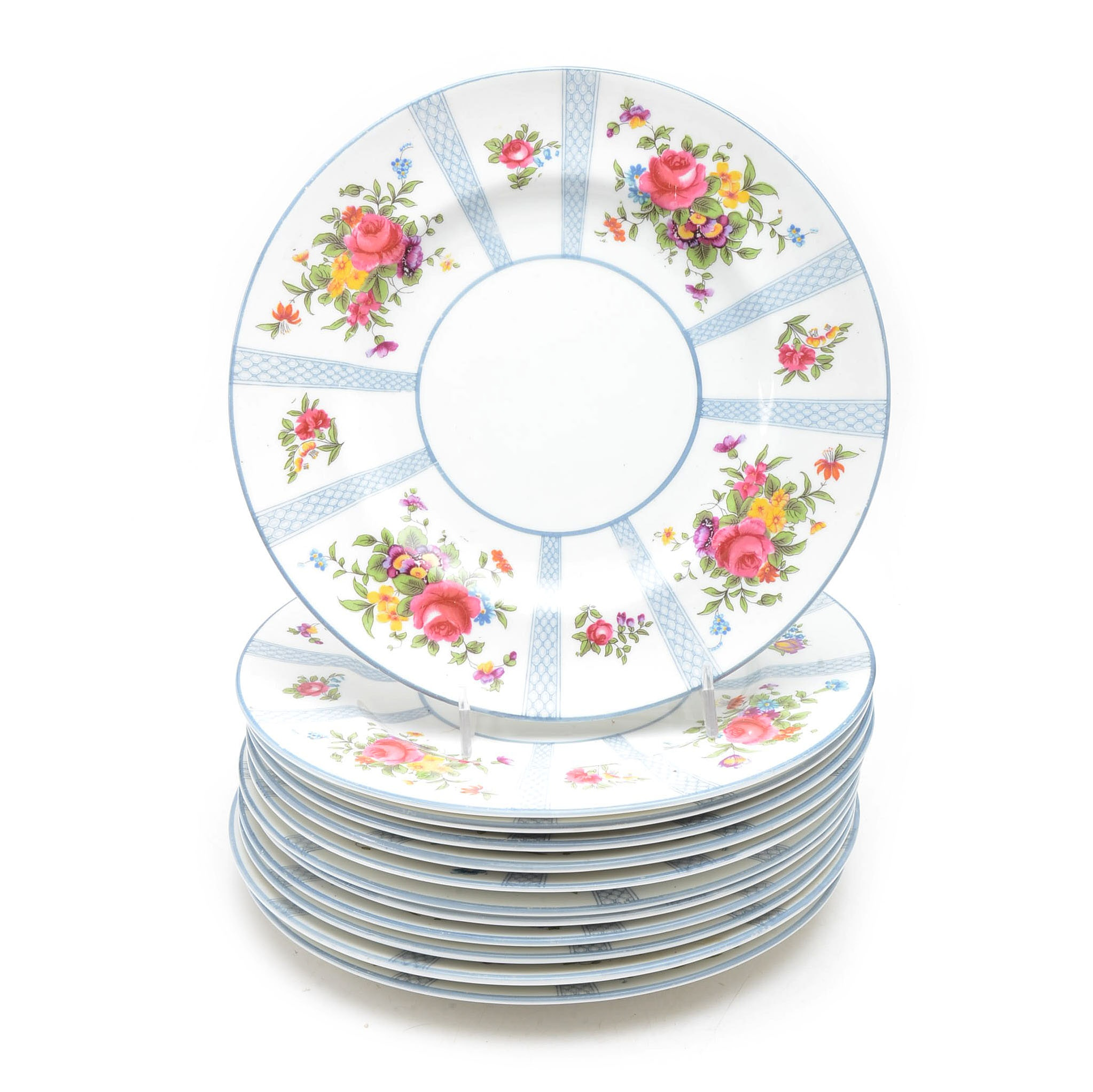 "Set of Twelve ""9080"" Patterned Crown Staffordshire Plates"