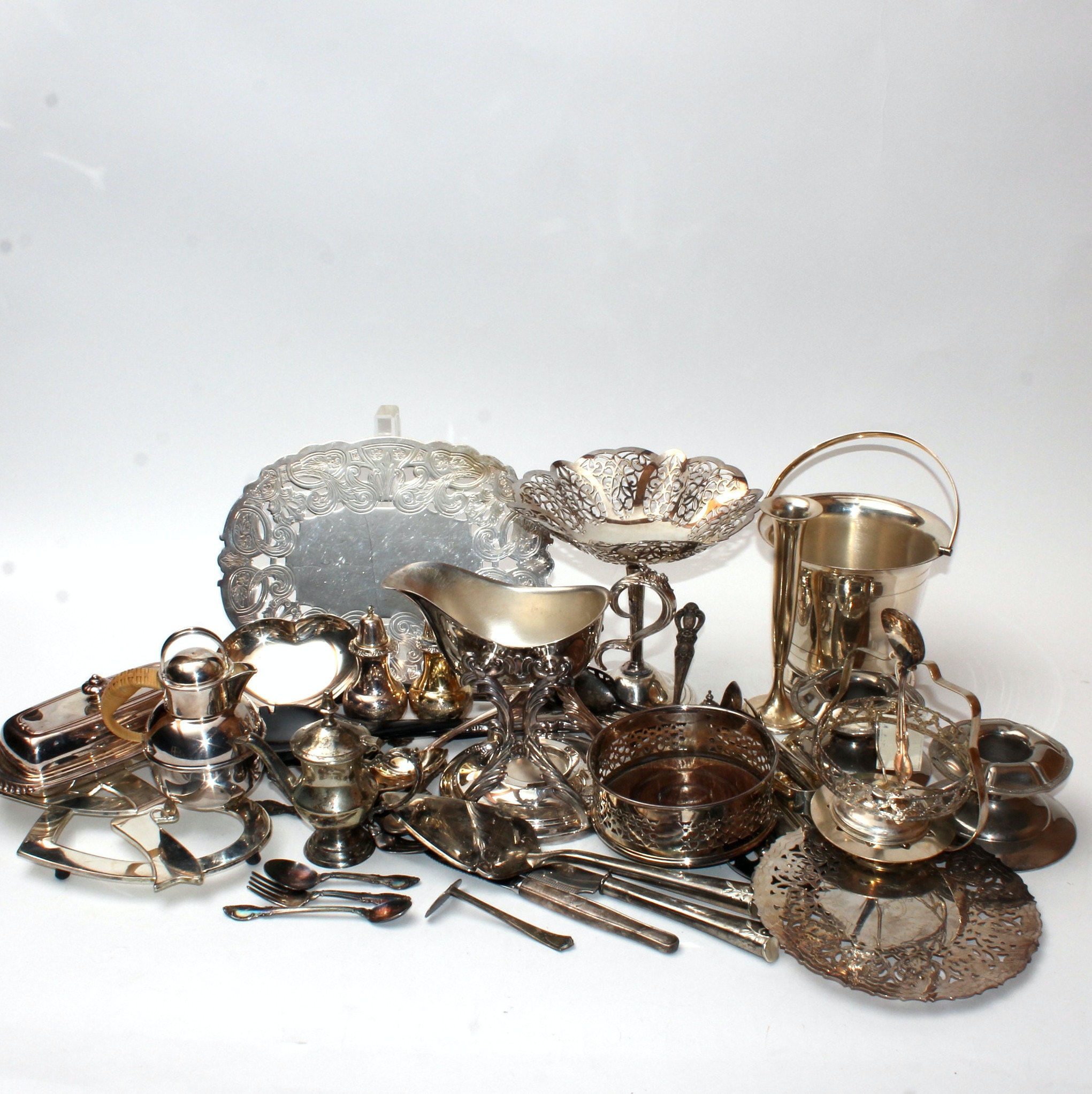 Silver Plate Flatware, Trivets, and More