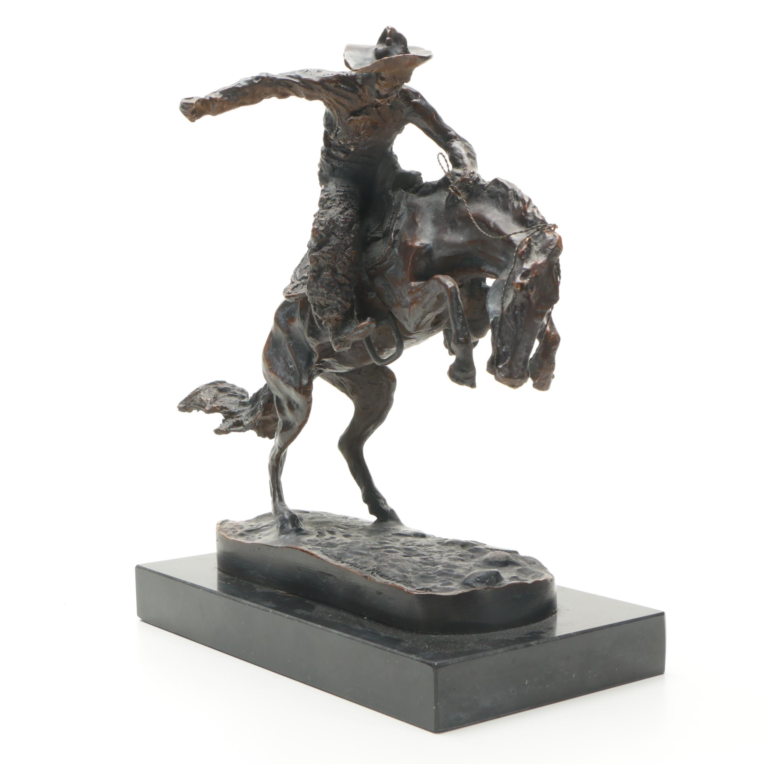 """Brass Sculpture After Frederic Remington """"Bronco Buster"""""""
