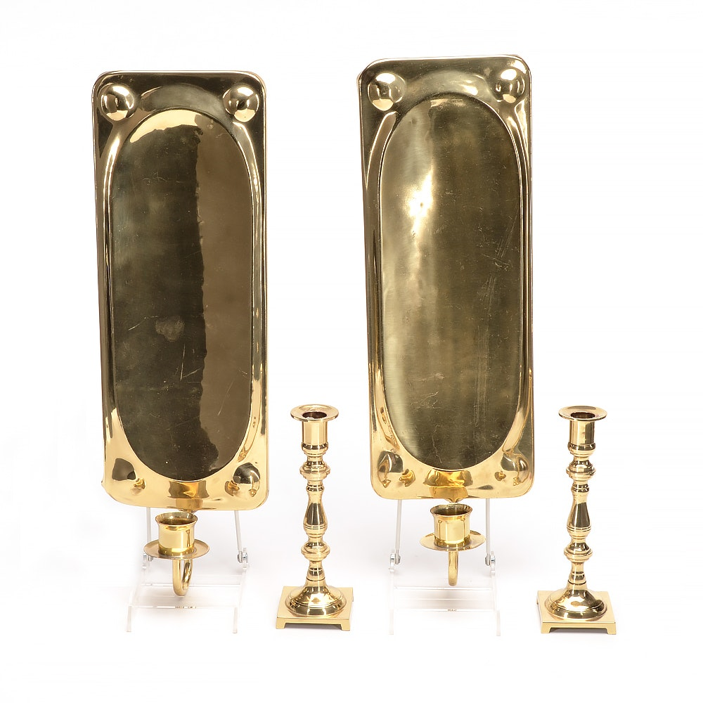 Pair of Brass Wall Sconces and Candlesticks