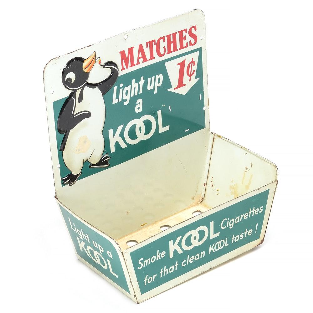 """1950s """"Kool Cigarettes"""" Metal Match Display"""