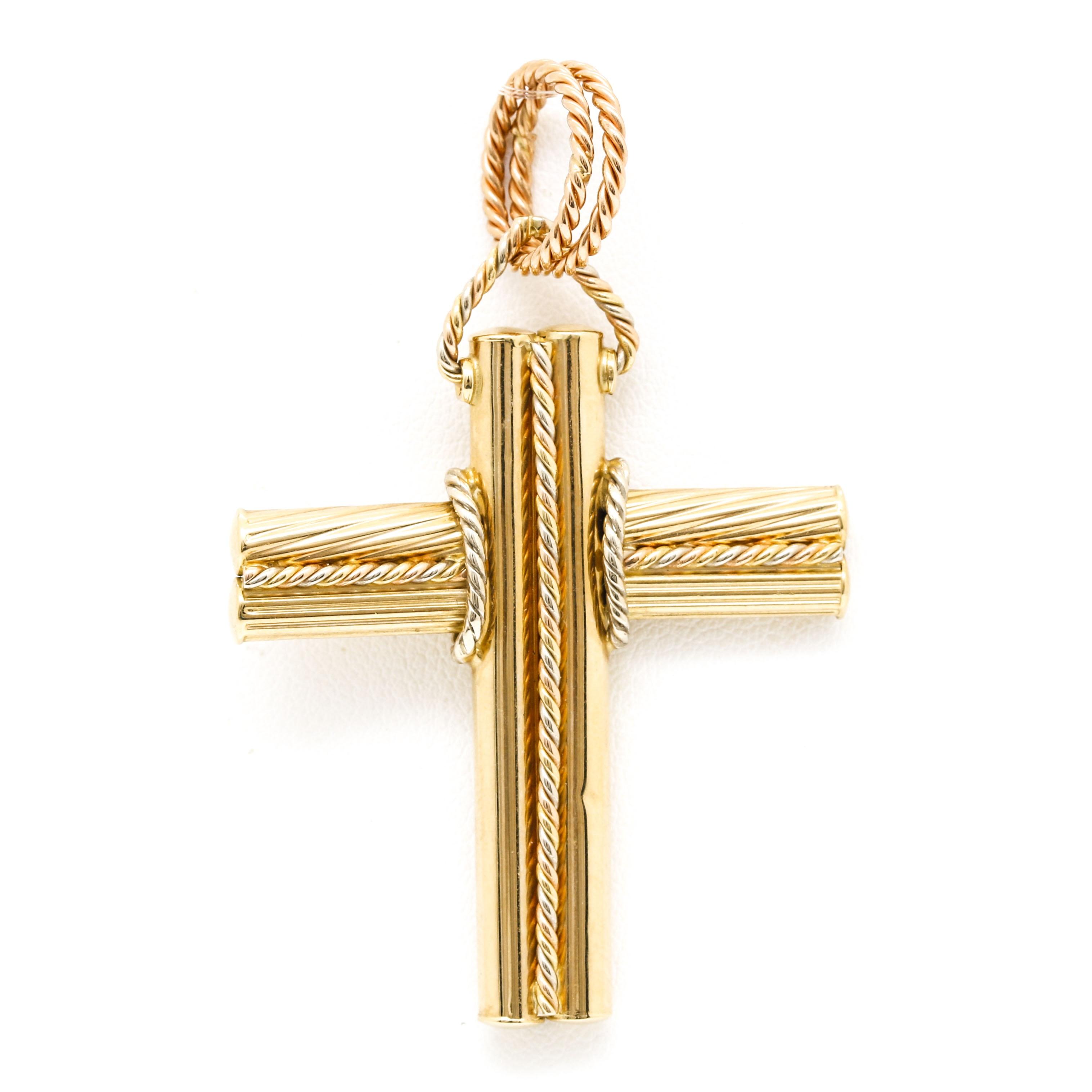 18K Yellow Gold Rope Cross Pendant