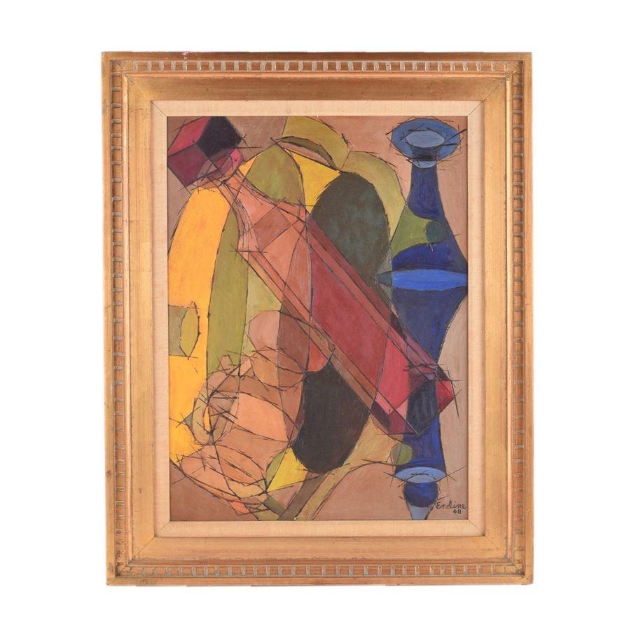 Erdine 1968 Cubist-Style Oil Painting on Canvas