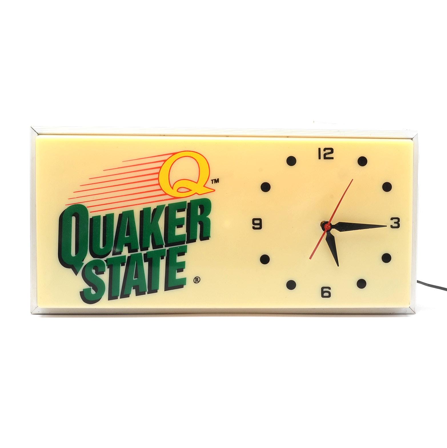 """Vintage """"Quaker State"""" Lighted Clock Sign"""