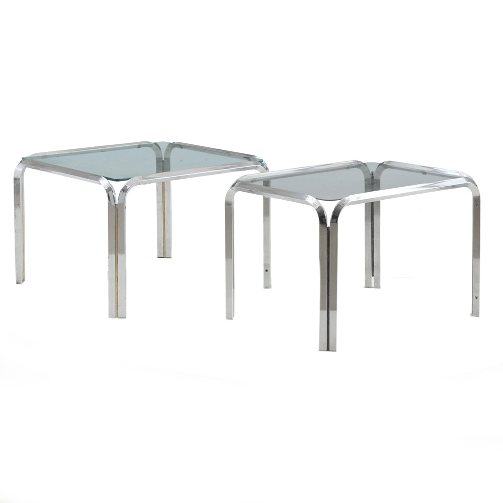 Vintage Mid Century Modern Glass and Chrome Tables