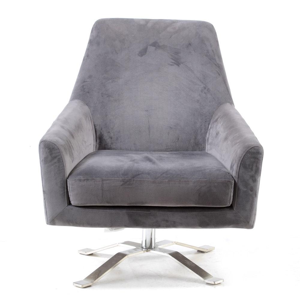 Mid Century Modern Style Microfiber Grey Armchair
