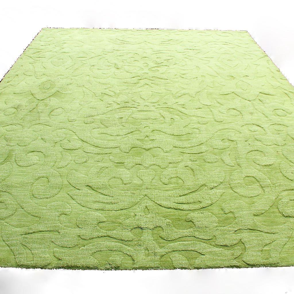 "Surya ""Mystique"" Textured Wool Pile Area Rug in Apple Green"