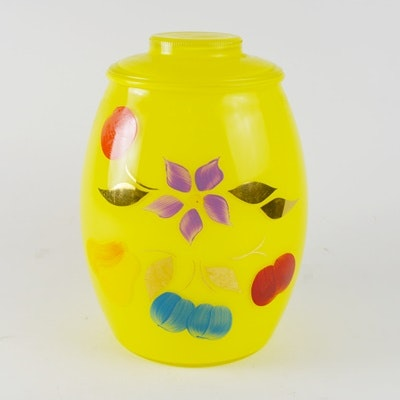 Vintage Bartlett Collins Yellow Glass Cookie Jar