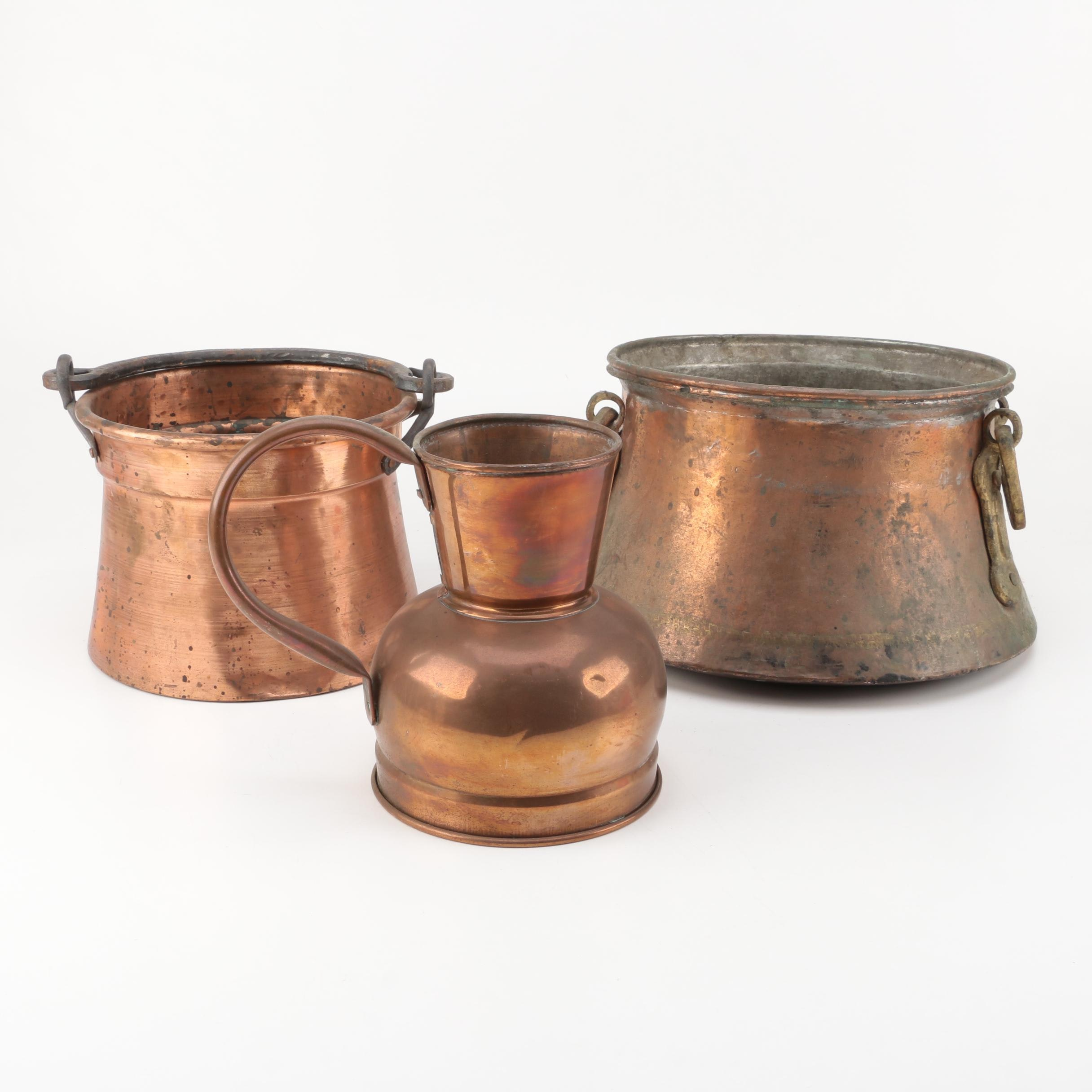 Copper Pots and Pitcher