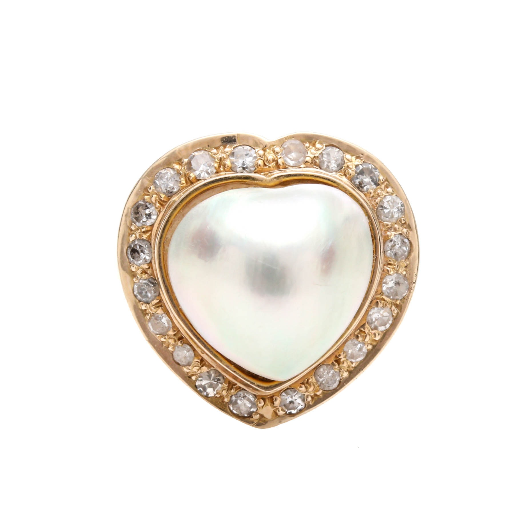 14K Yellow Gold Cultured Pearl and Diamond Heart Ring