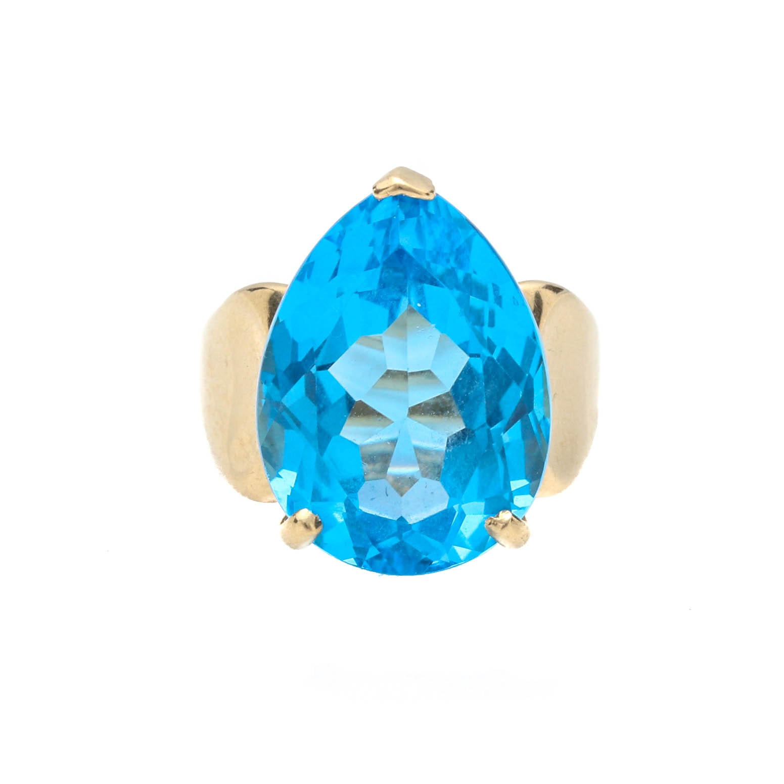 14K Yellow Gold 18.78 CT Blue Topaz Ring