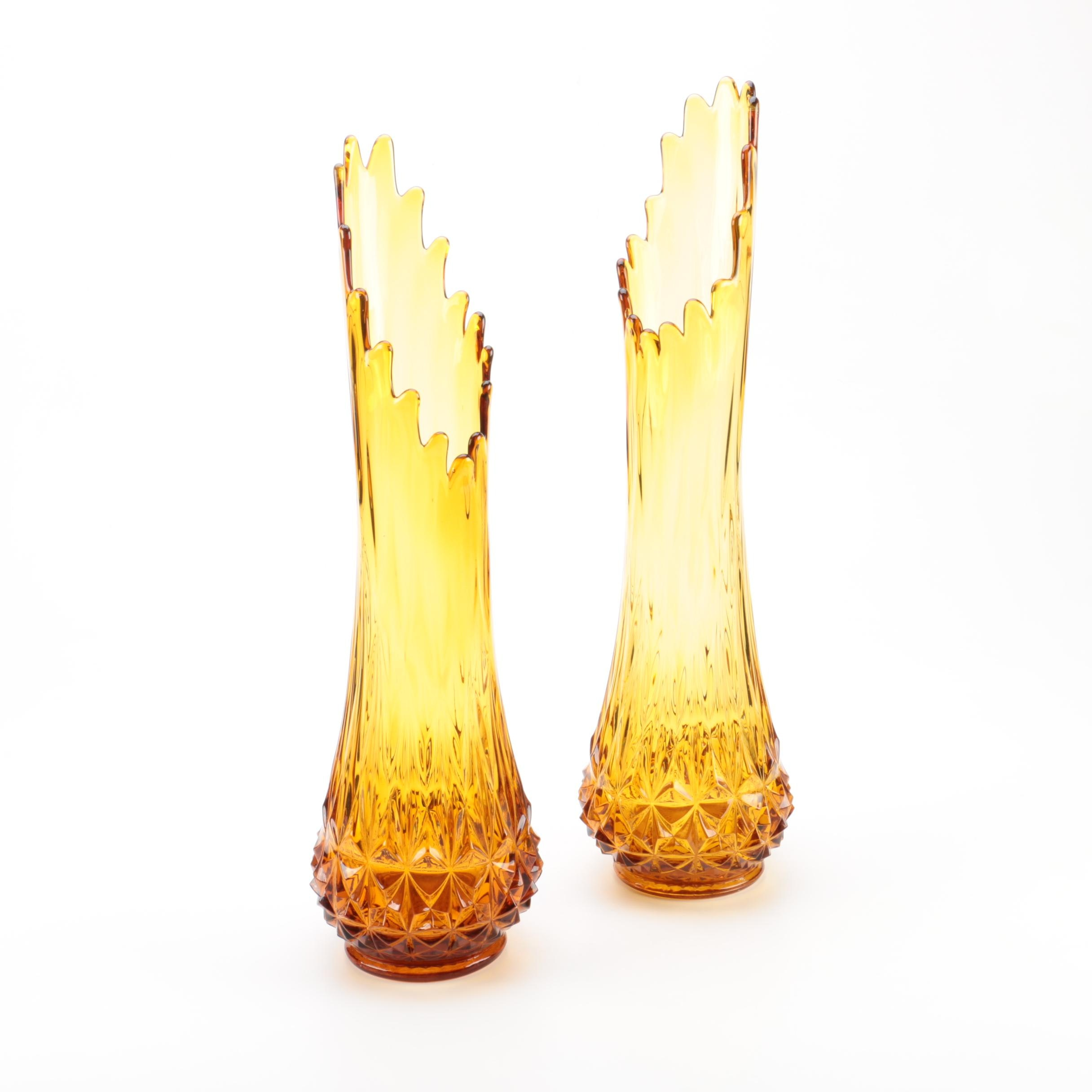 Pair of Vintage Amber Swung Glass Vases