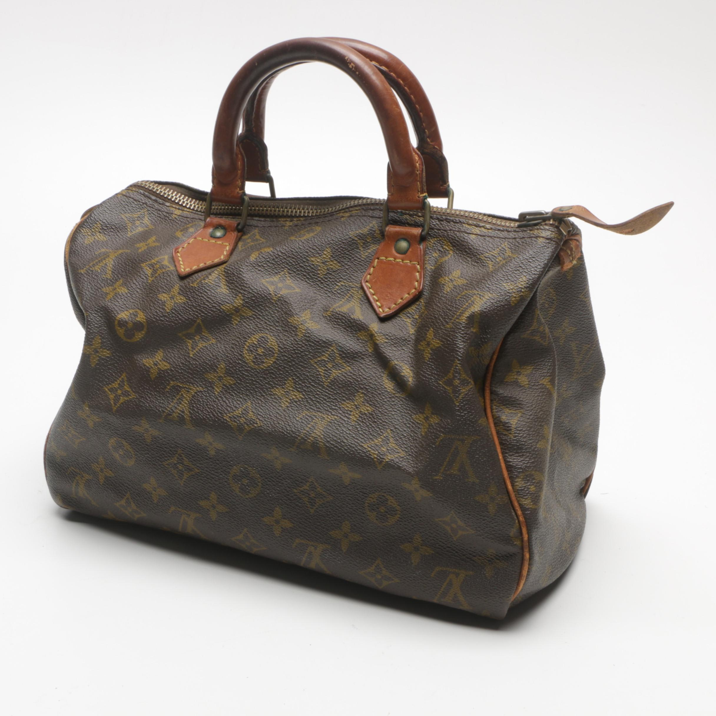Louis Vuitton Speedy Leather and Canvas Satchel
