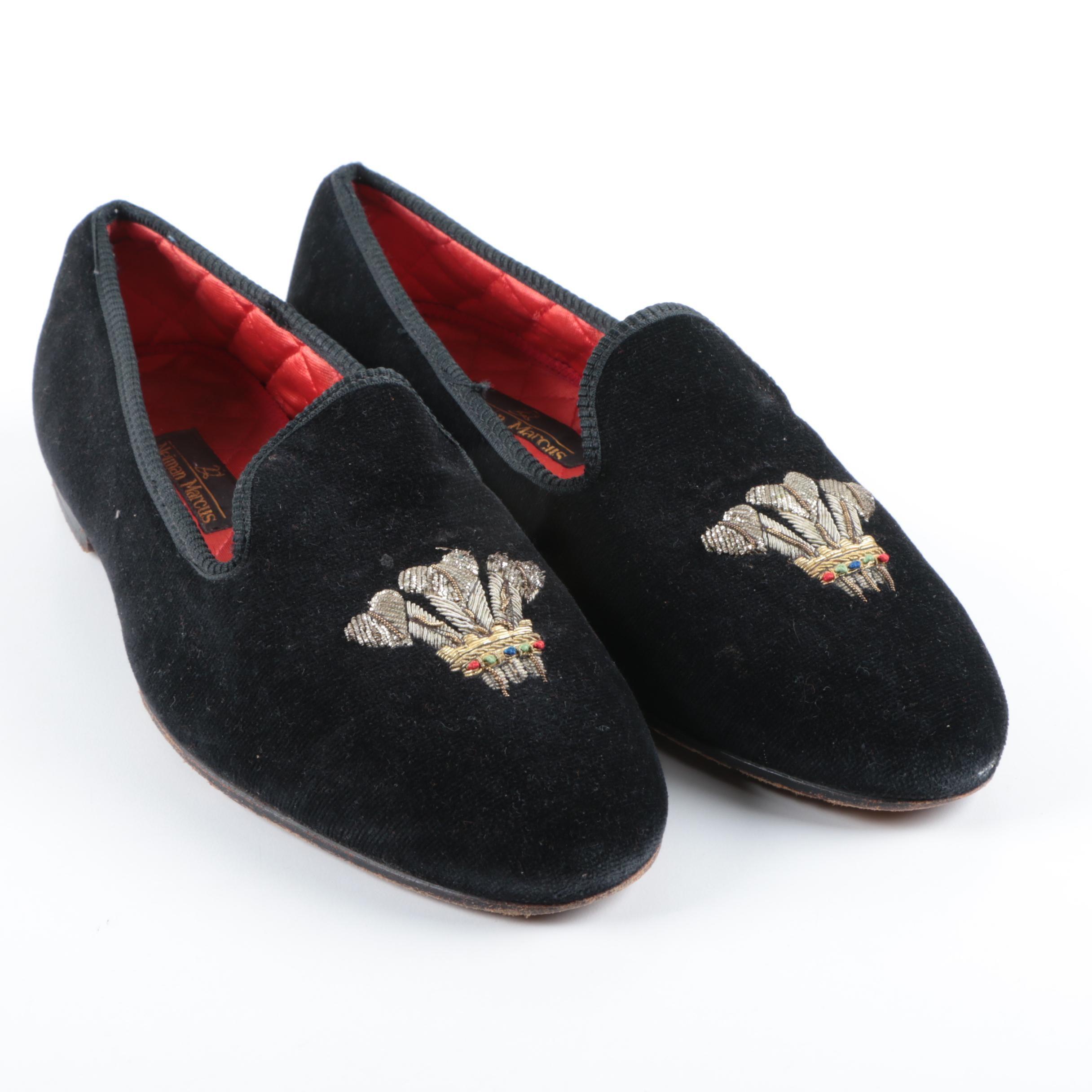 Women's Neiman Marcus Beaded Velvet Slip-On Loafers