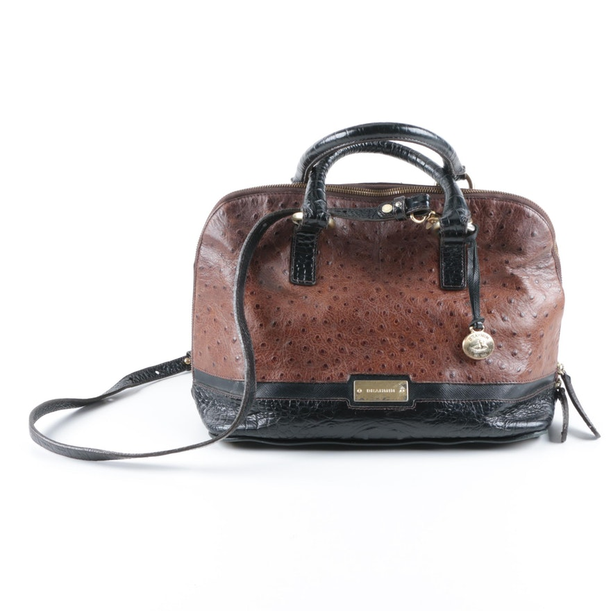 Brahmin Ostrich Embossed Leather Handbag