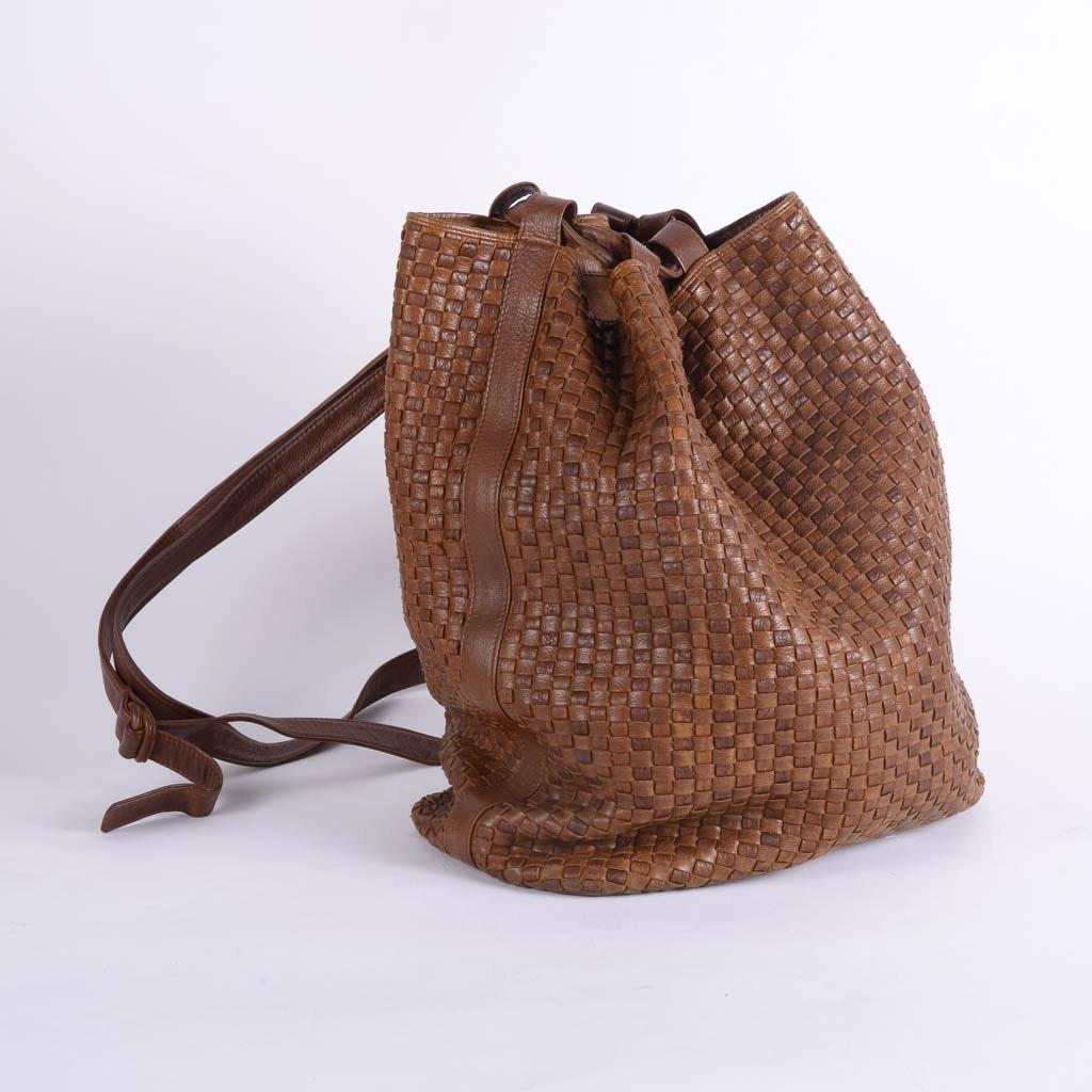Vintage Fendi Brown Woven Leather Bucket Bag