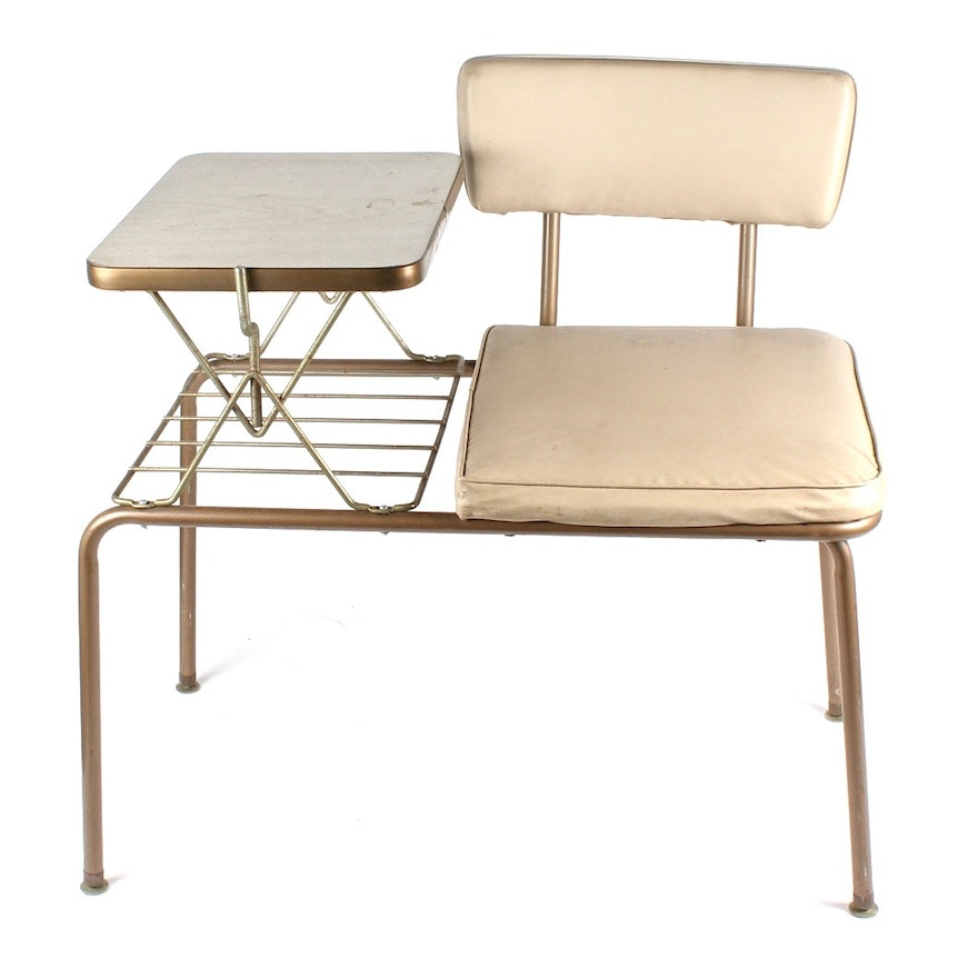 Mid Century Modern Telephone Table And Gossip Bench