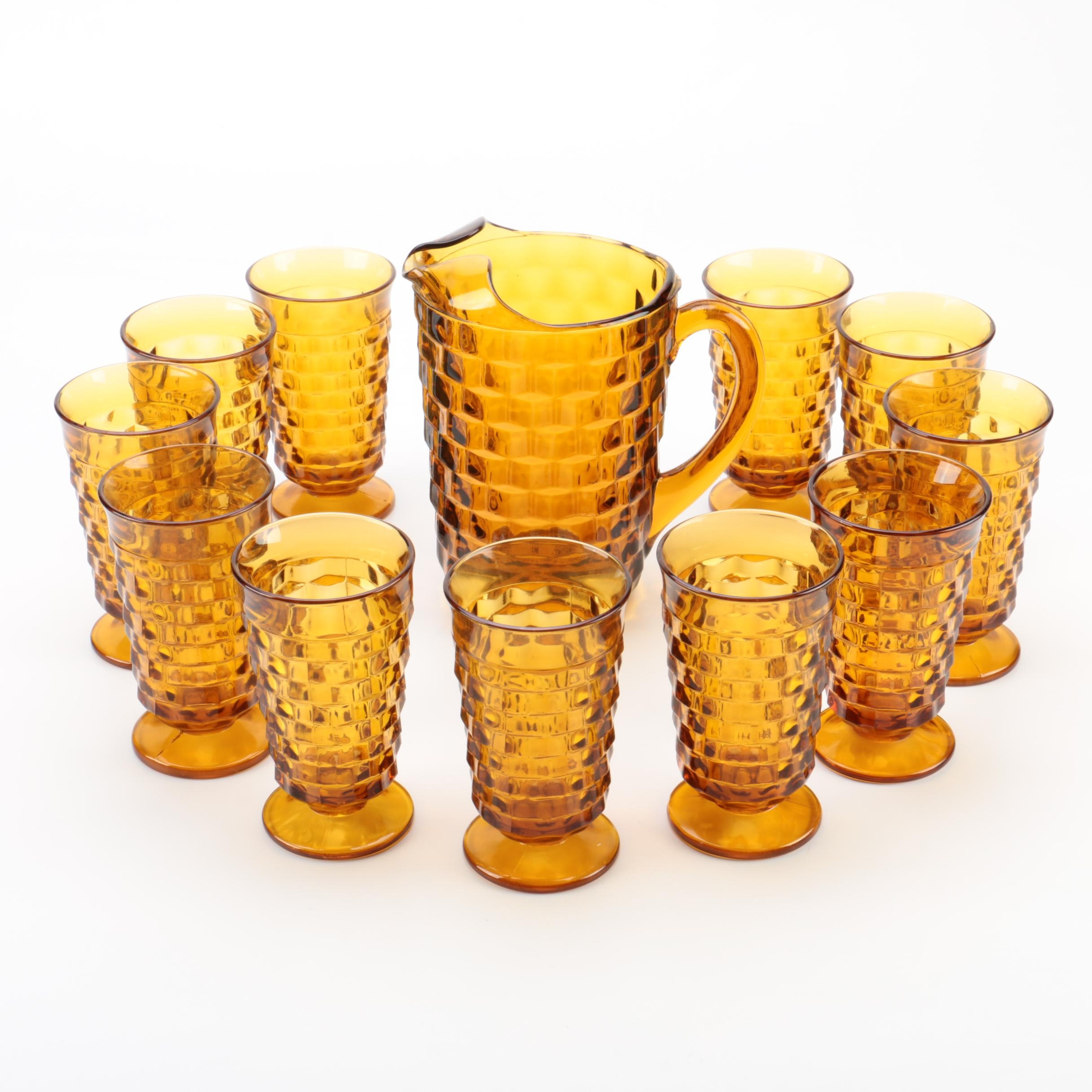 """Vintage Indiana Glass Co. """"Whitehall"""" Amber Iced Tea Glasses and Pitcher"""