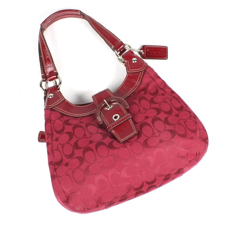Coach Grey Soho Signature Hobo Handbag