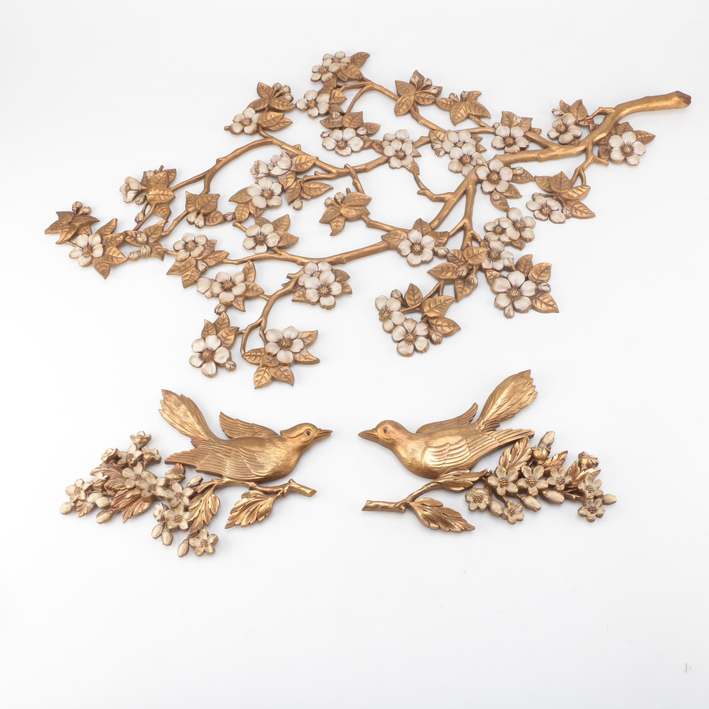 Vintage Flowering Branch and Bird Wall Decor Featuring Syroco