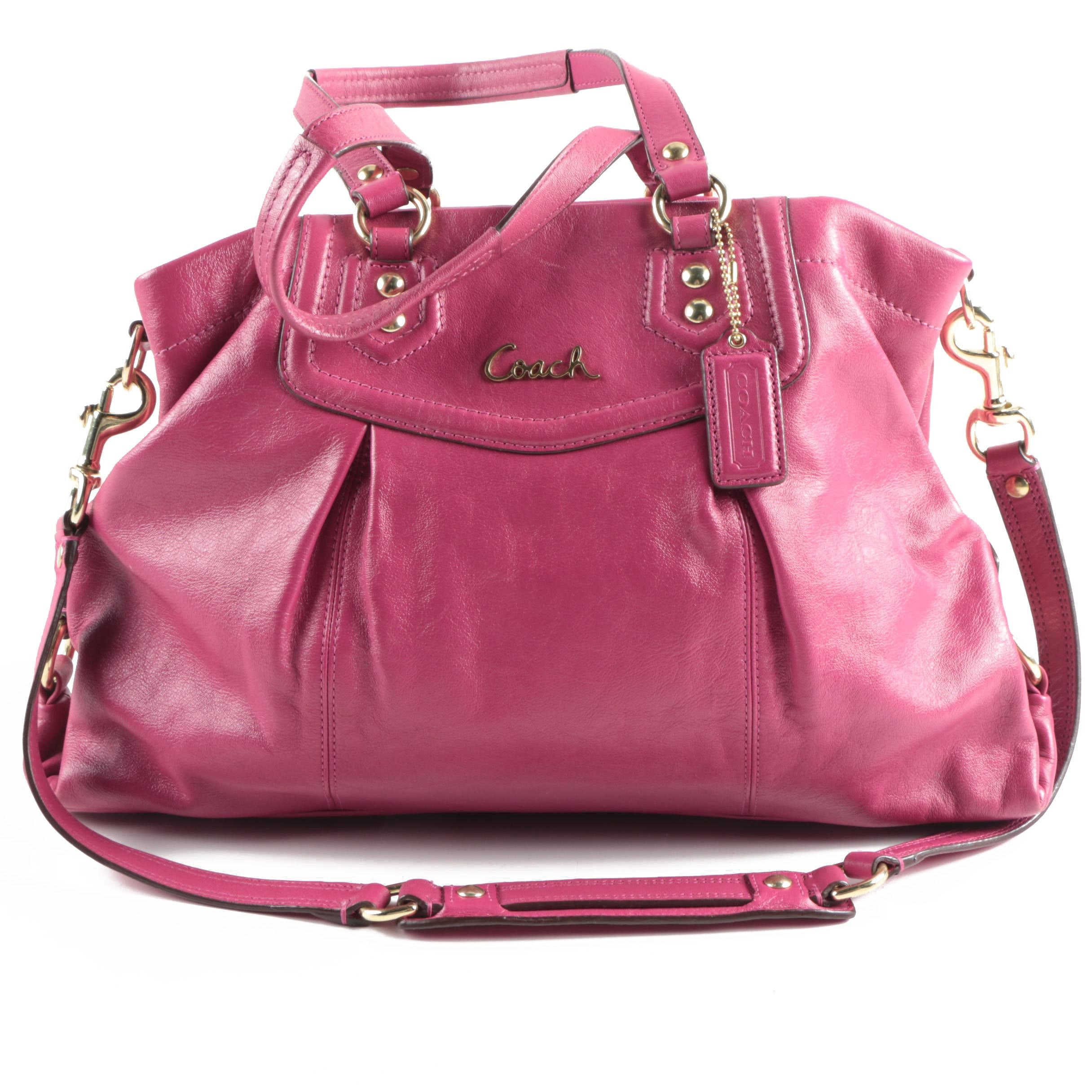 Coach Ashley Fuchsia Leather Carryall