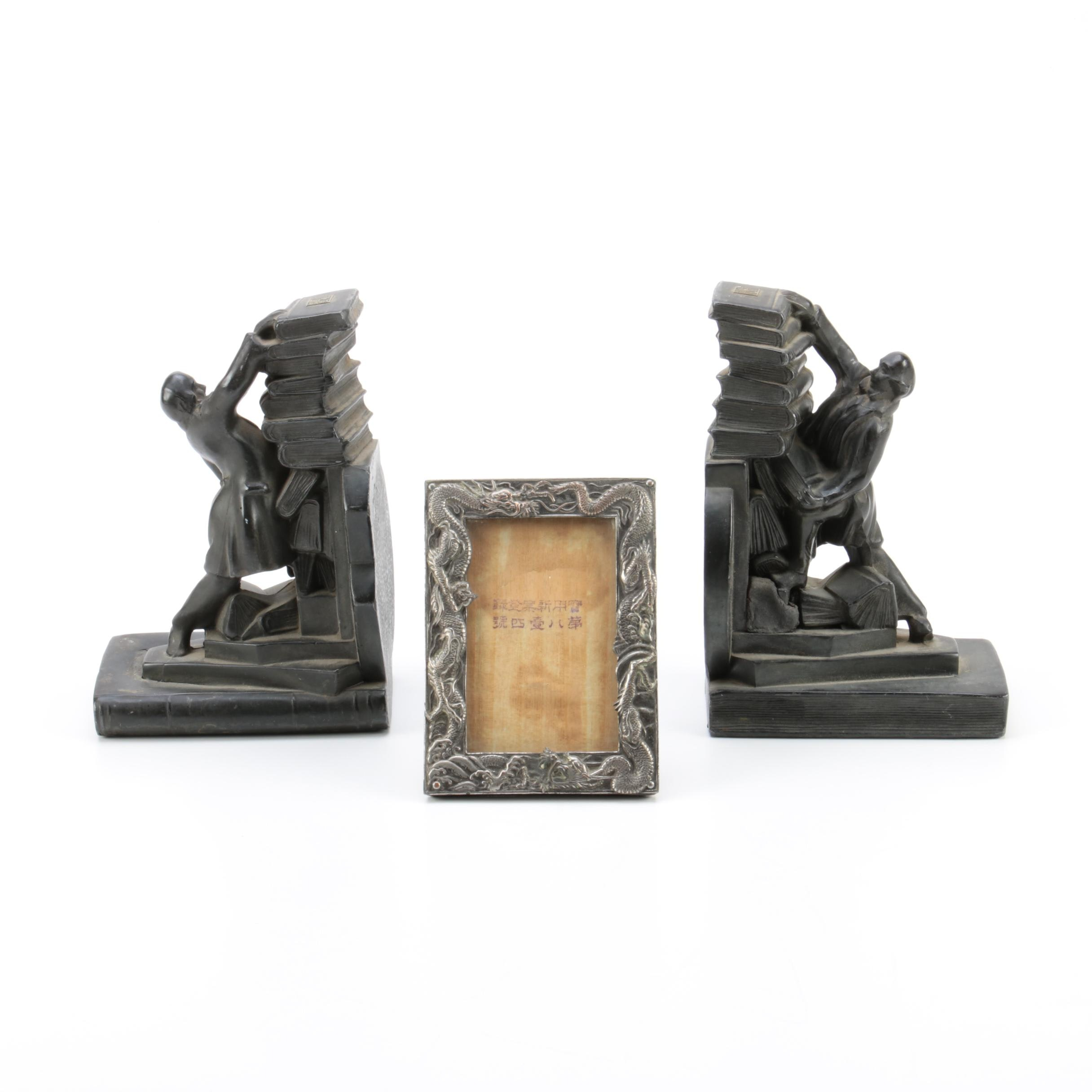 "Silver Plate Dragon Picture Frame and Chicago ""A Century of Progress"" Bookends"