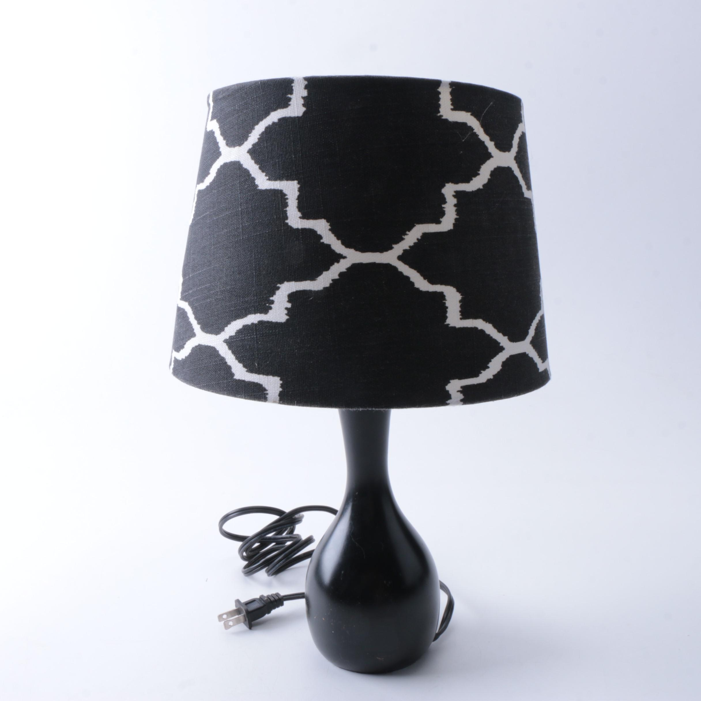 Black Table Accent Lamp with Shade