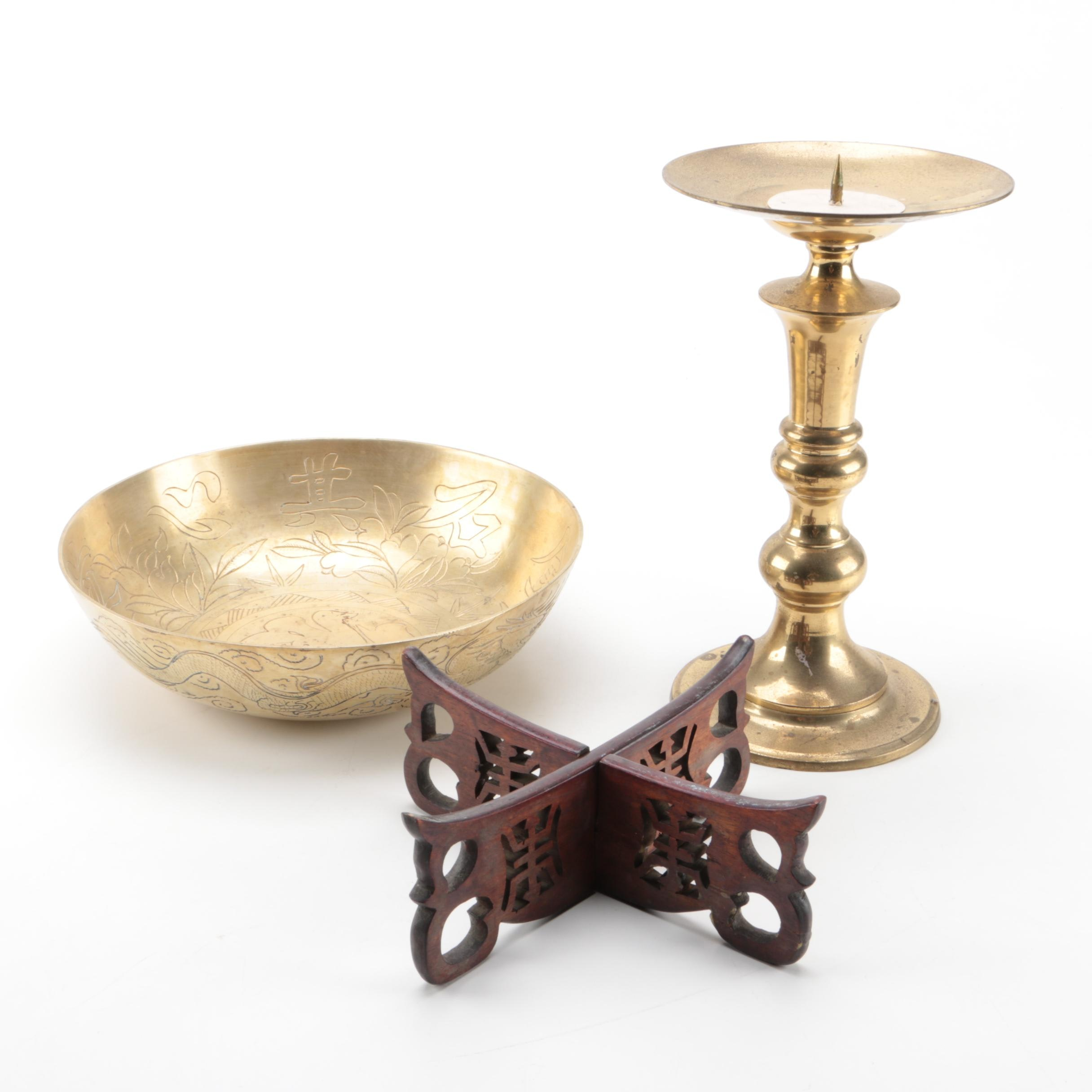 Brass Candle Holder, Bowl, and Wooden Stand