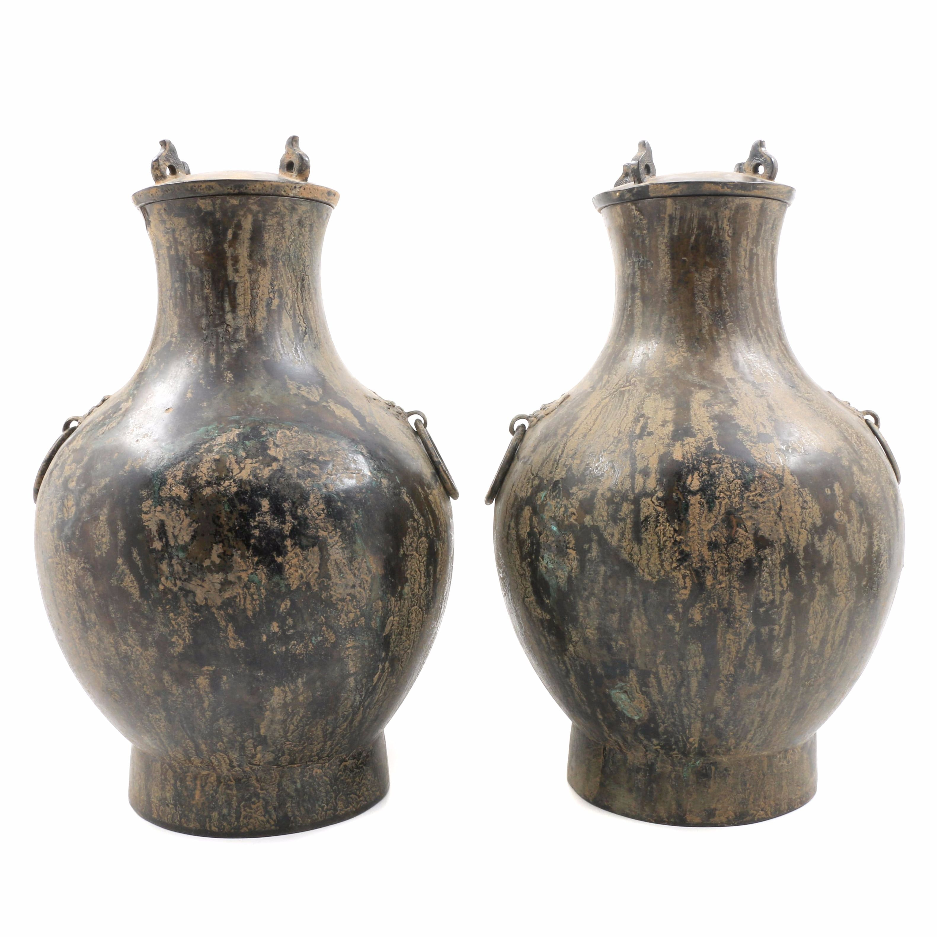 """Pair of 19th Century Chinese """"Hu"""" Form Vessels with Lids"""