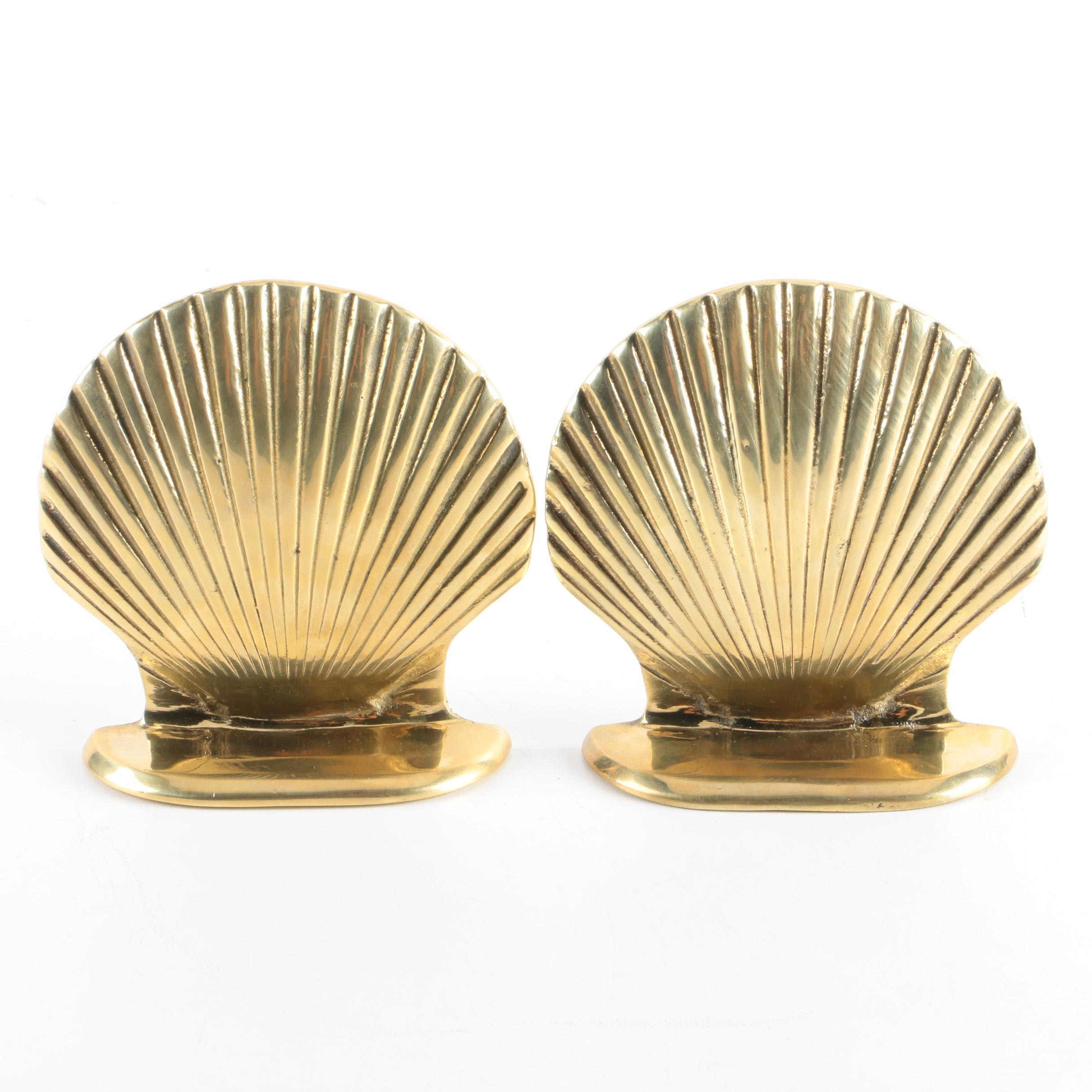 Brass Shell Shaped Bookends