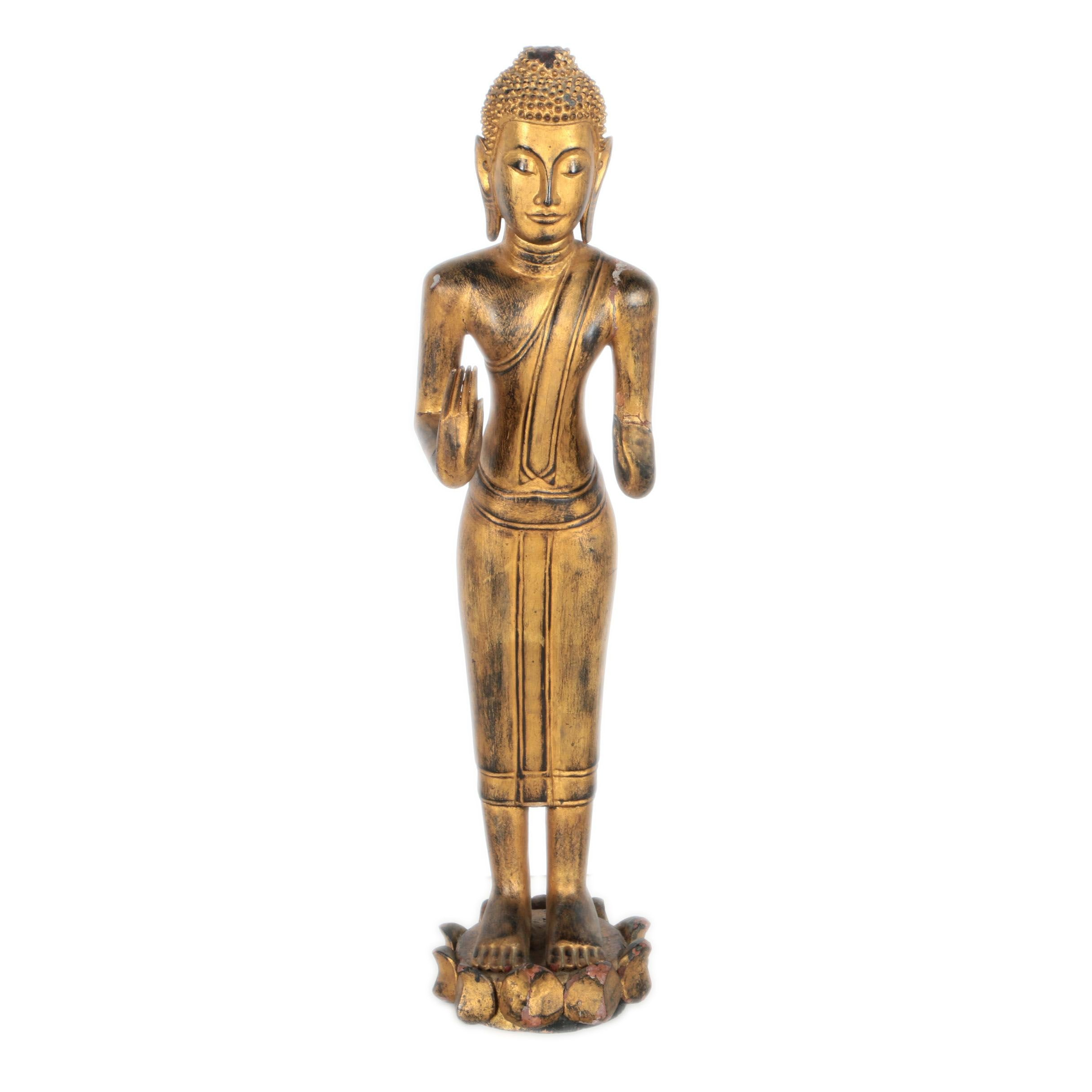 Thai Style Carved Wooden Buddha Sculpture