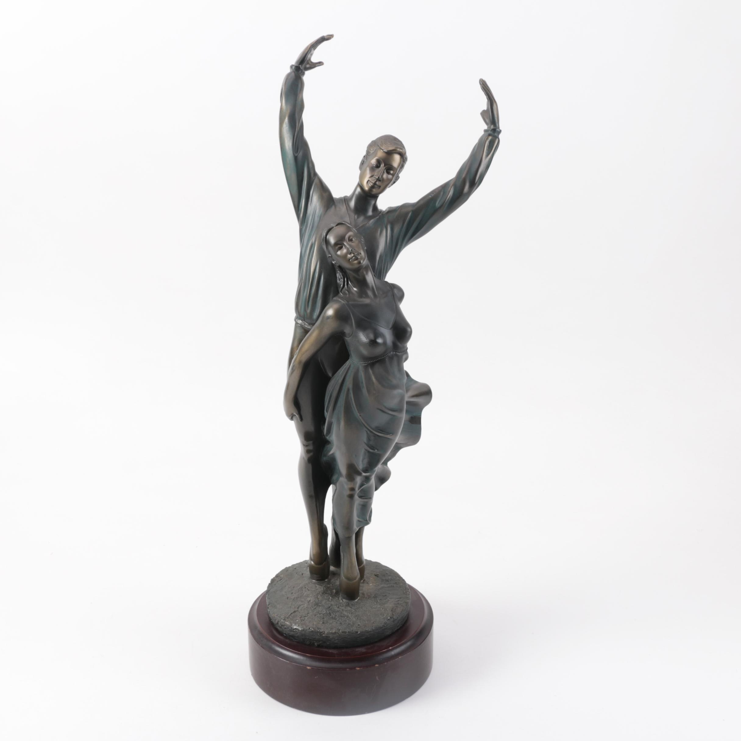 Bronze-Tone Reproduction Sculpture of Ballet Dancers