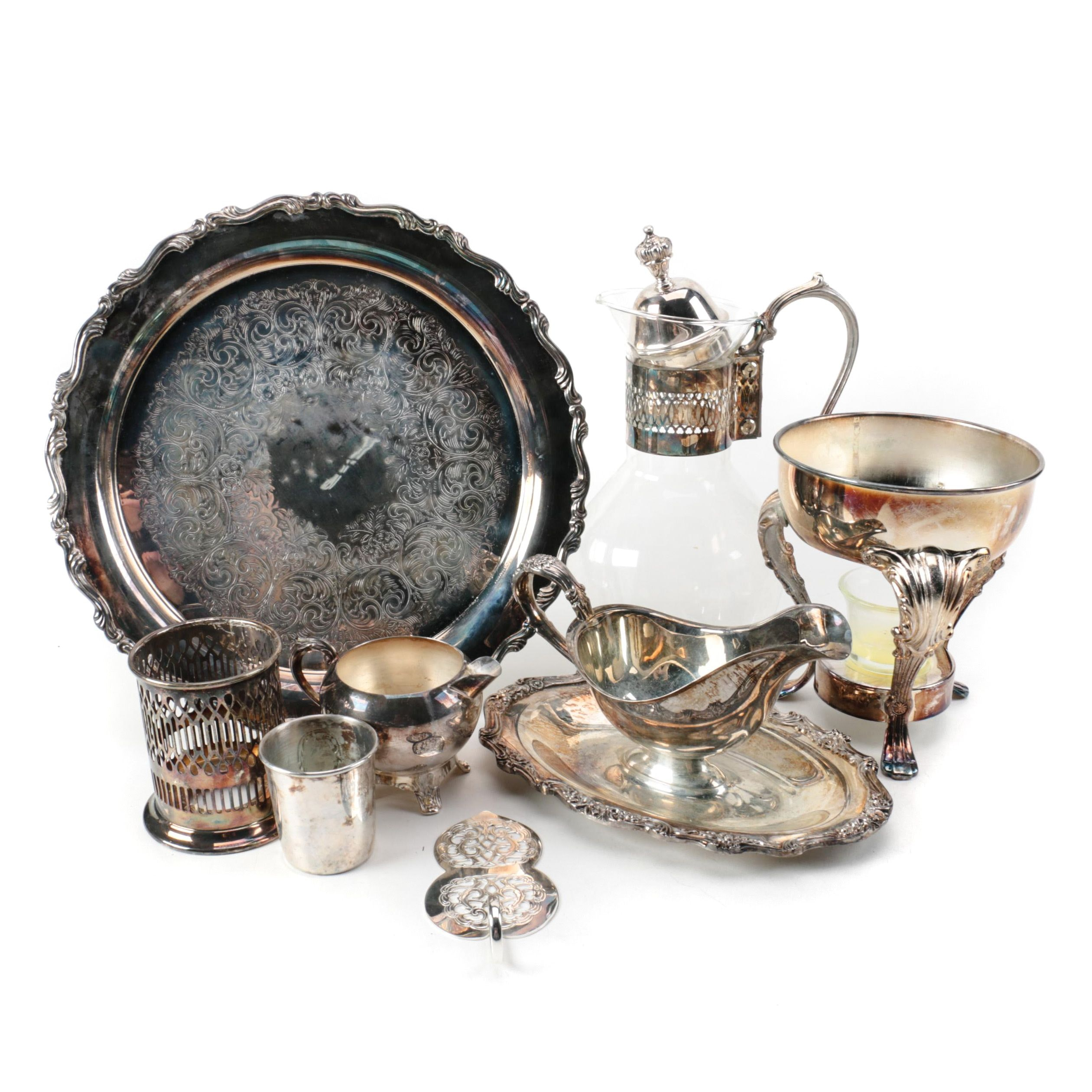 F.B. Rogers Silver Plate Creamer with Other Silver Plate Serveware