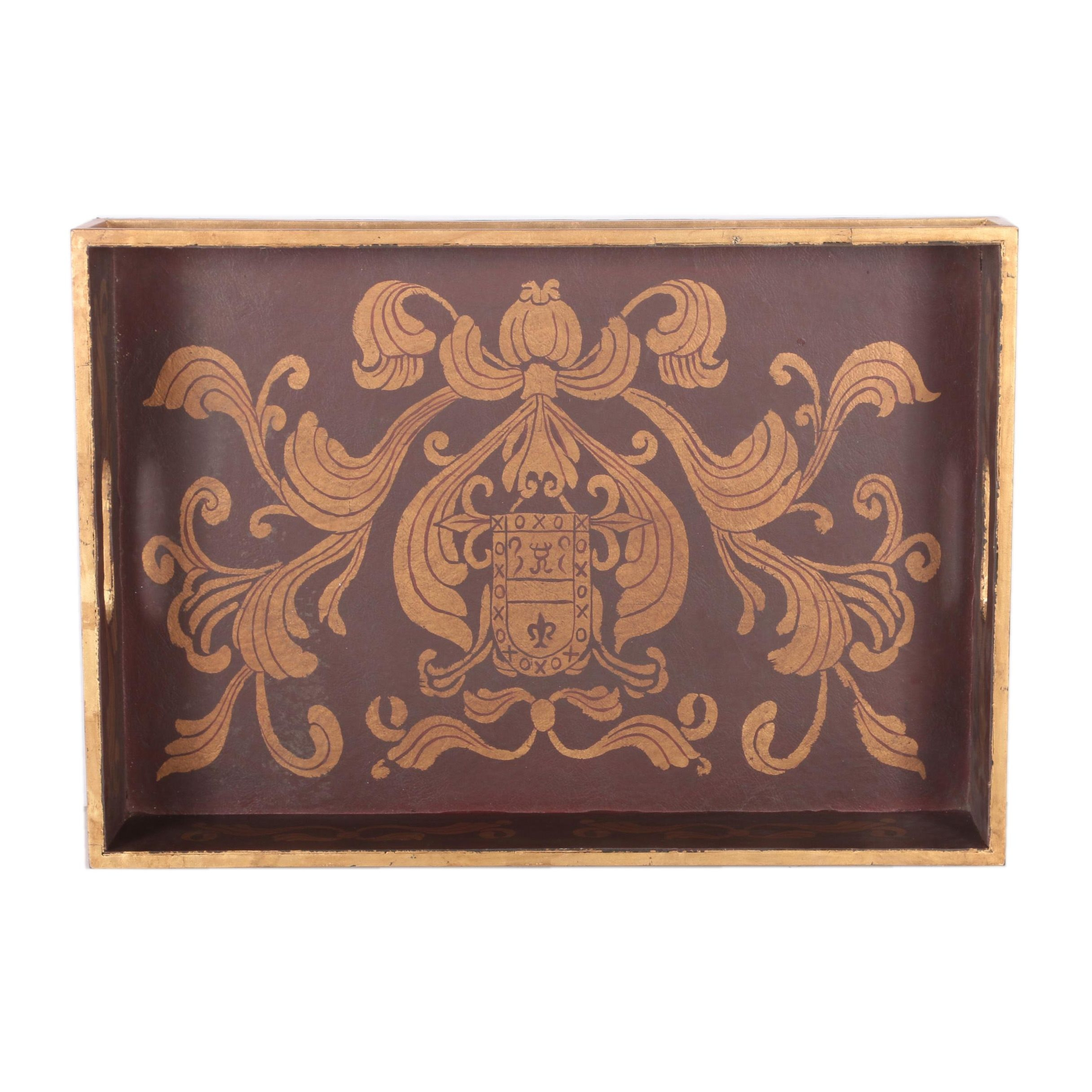 Wood and Metal Decorative Tray with Fleur-de-Lis Design