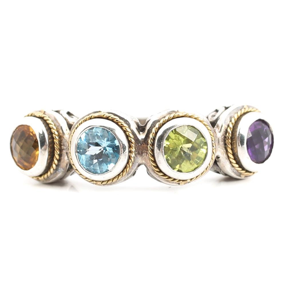 Sterling Silver Ring with Four Bezel Set Gemstones in 18K Gold Rope Frames