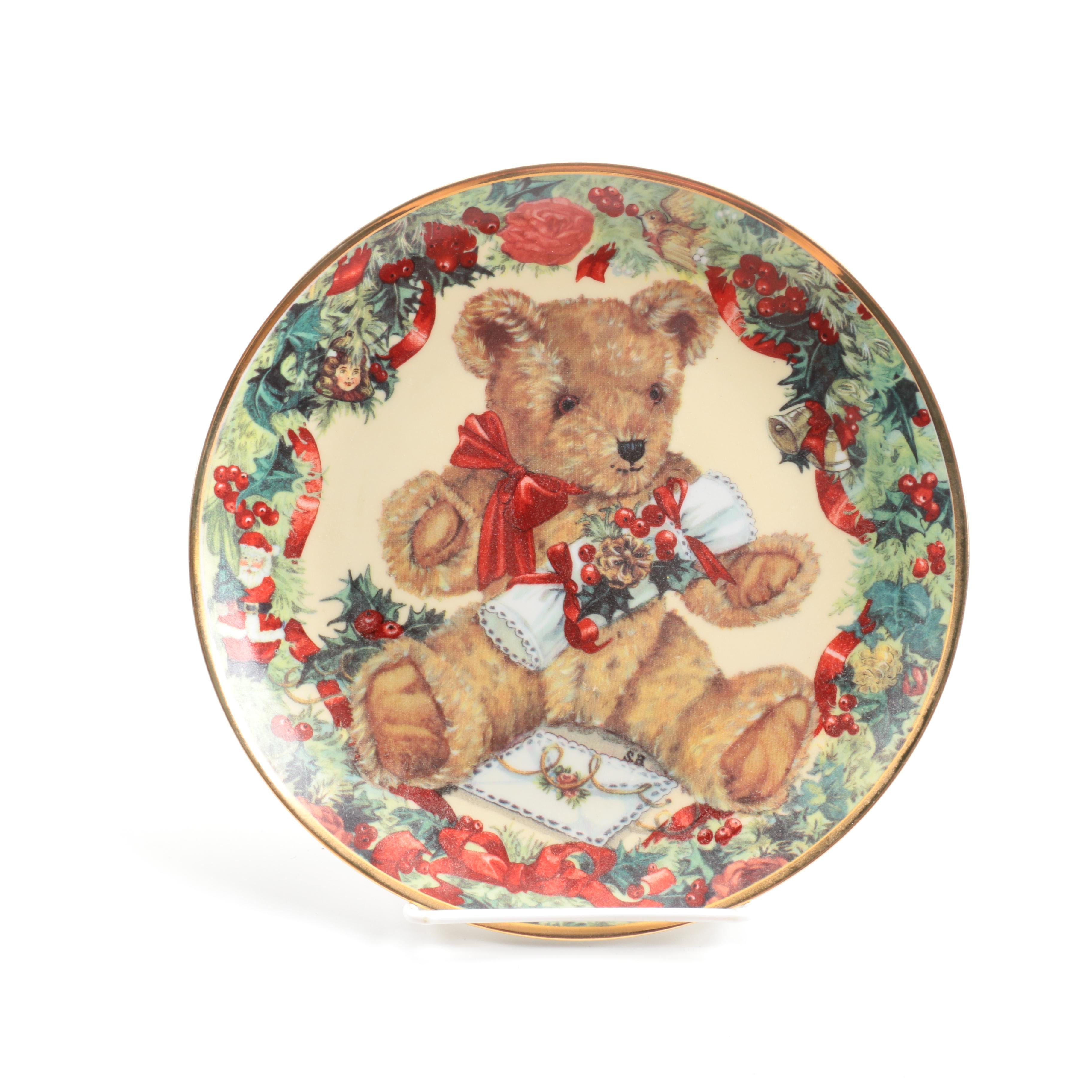 """Franklin Mint """"Teddy's First Christmas"""" Collector's Plate"""