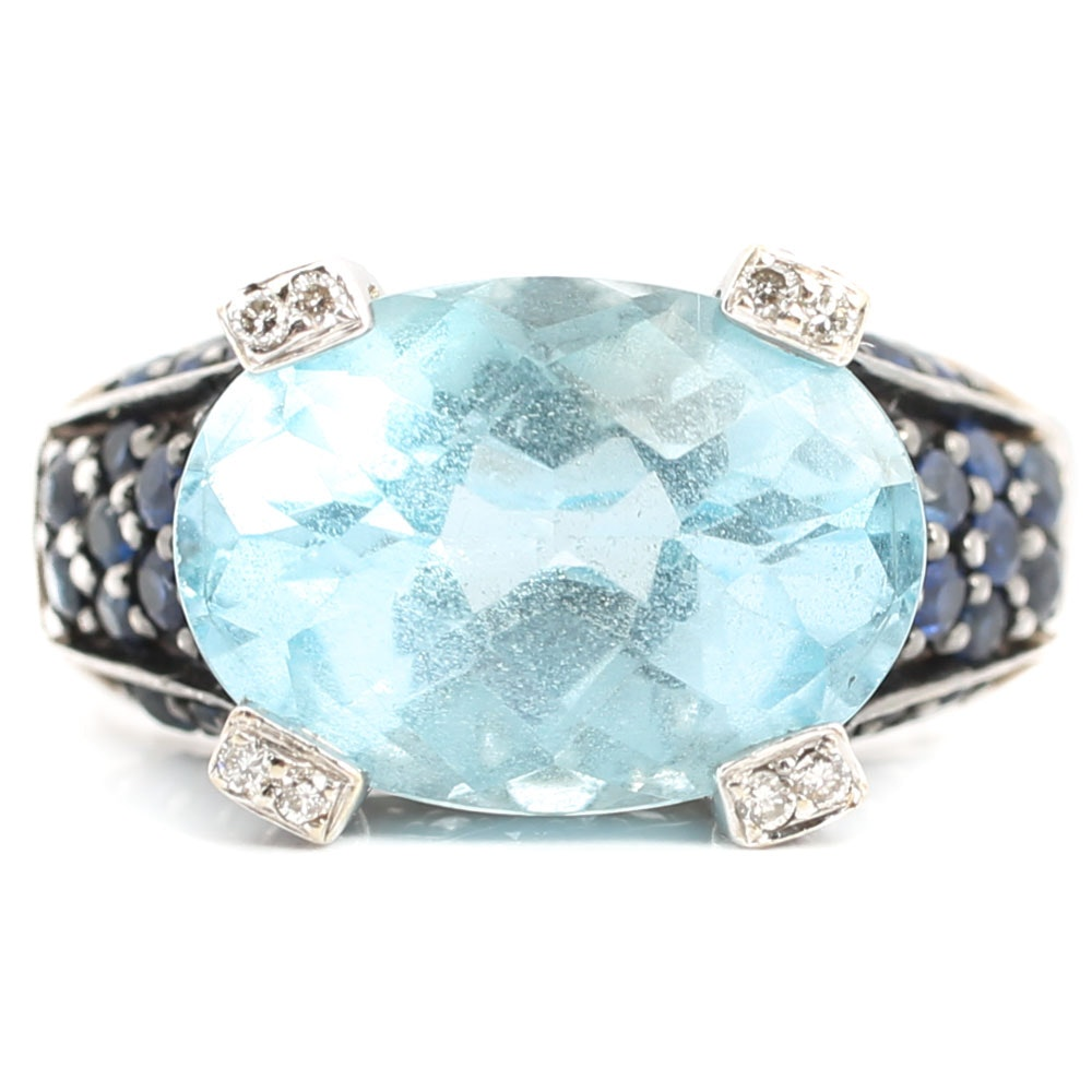 Le Vian 14K Yellow Gold Blue Topaz, Sapphire and Diamond Ring