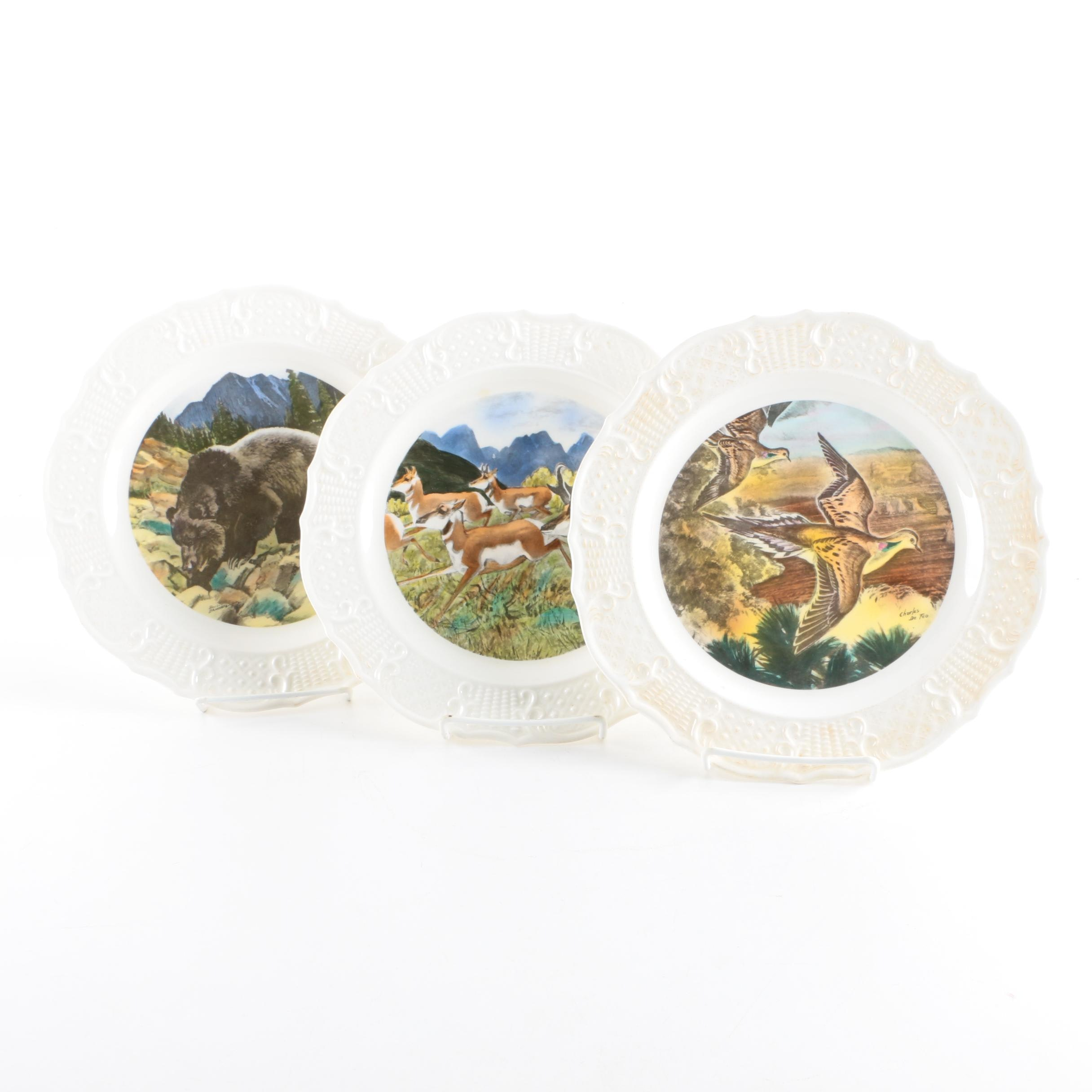 Three Seagram Distillery Hand Colored Ceramic Plates
