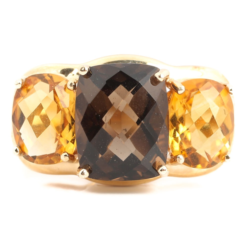 14K Yellow Gold Smoky Quartz and Citrine Ring