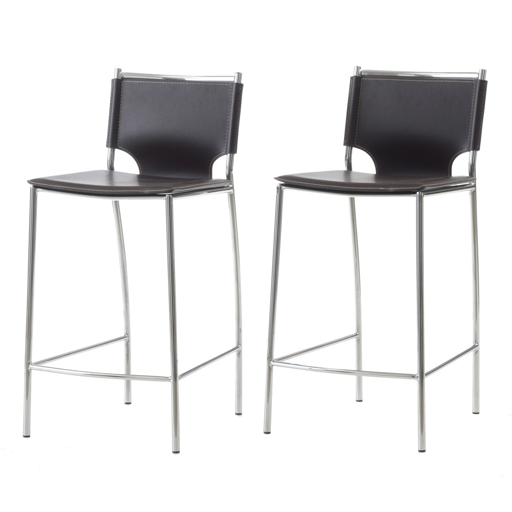 Pair of Contemporary Mid Century Modern Counter Stools by Baxton Studio