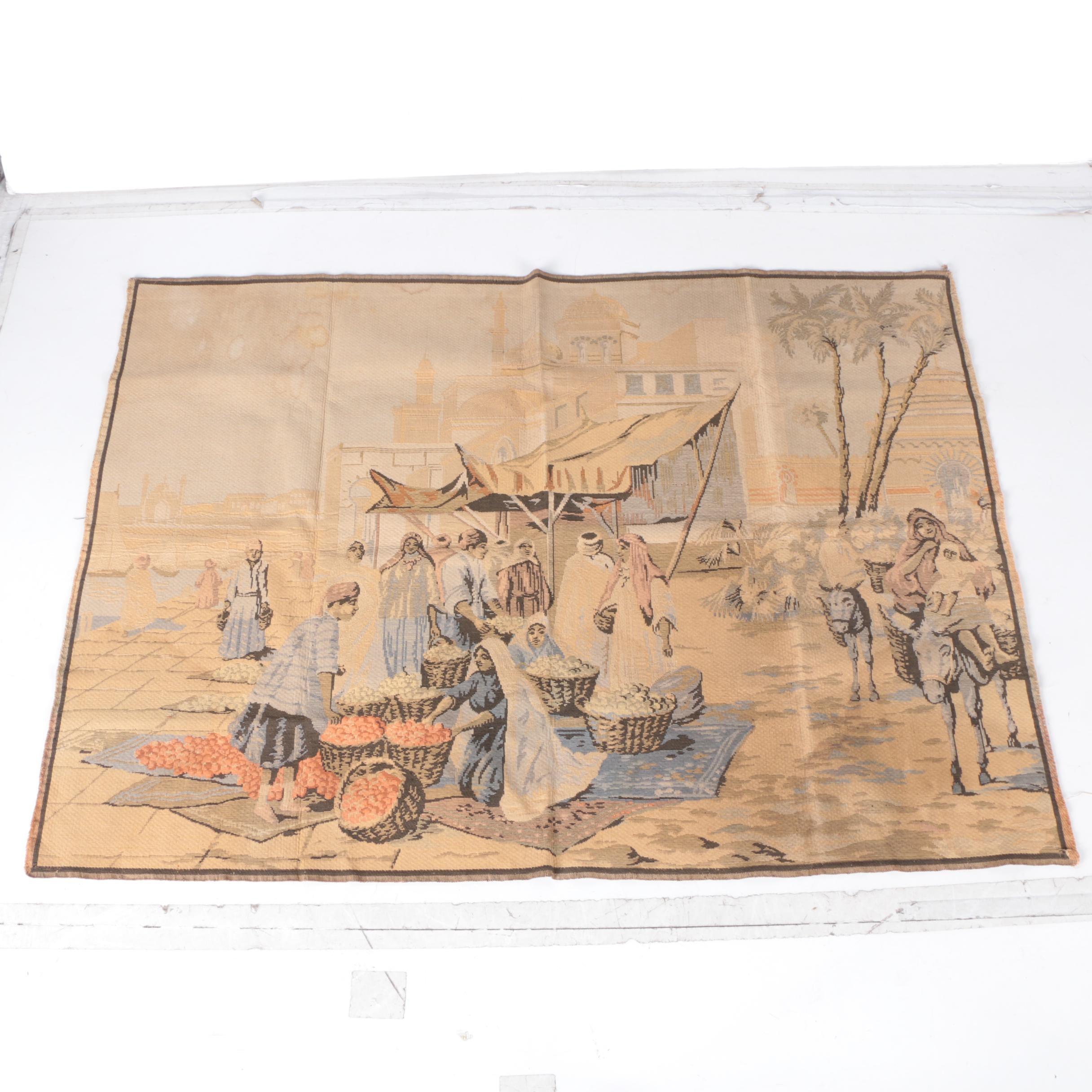 French Tapestry of Desert Market Scene