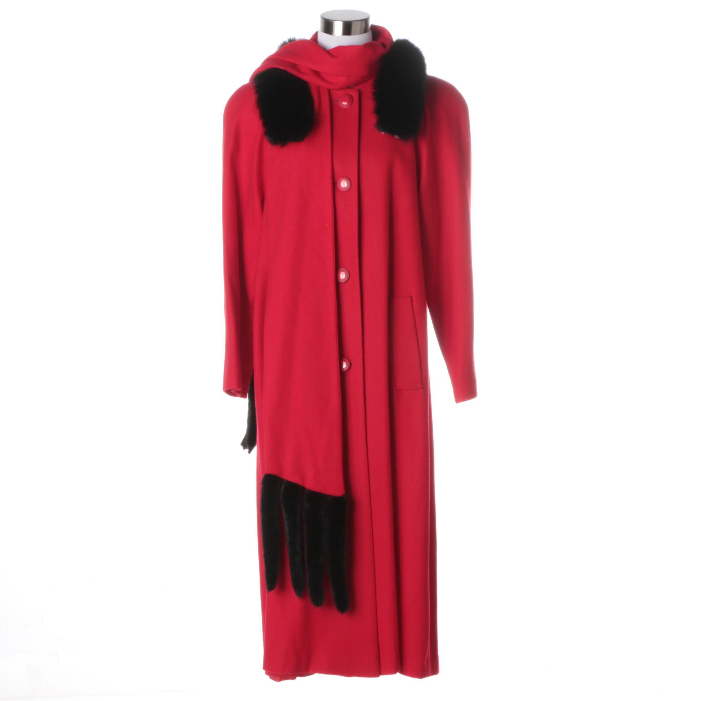 J. Hilary Coat with Mink Tail Wrap and Fox Fur Collar