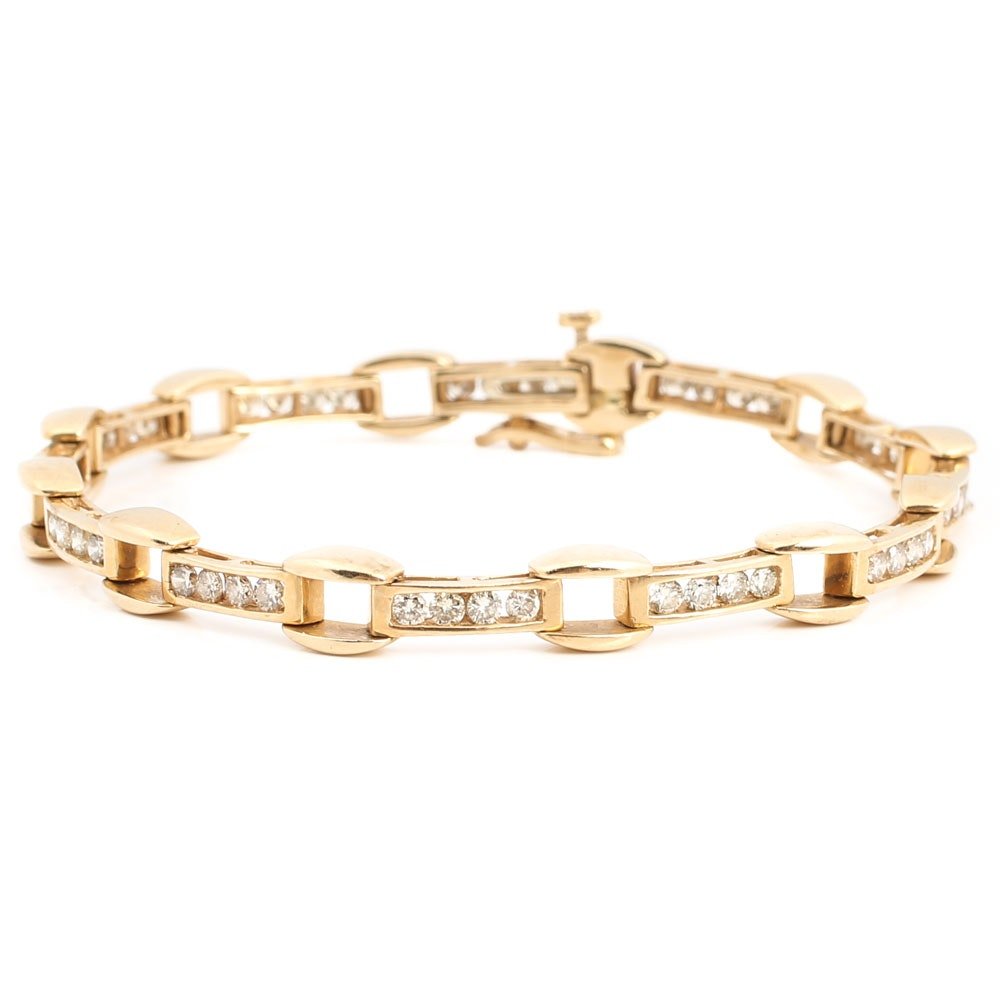 14K Yellow Gold Twelve-Bar Diamond Link Bracelet
