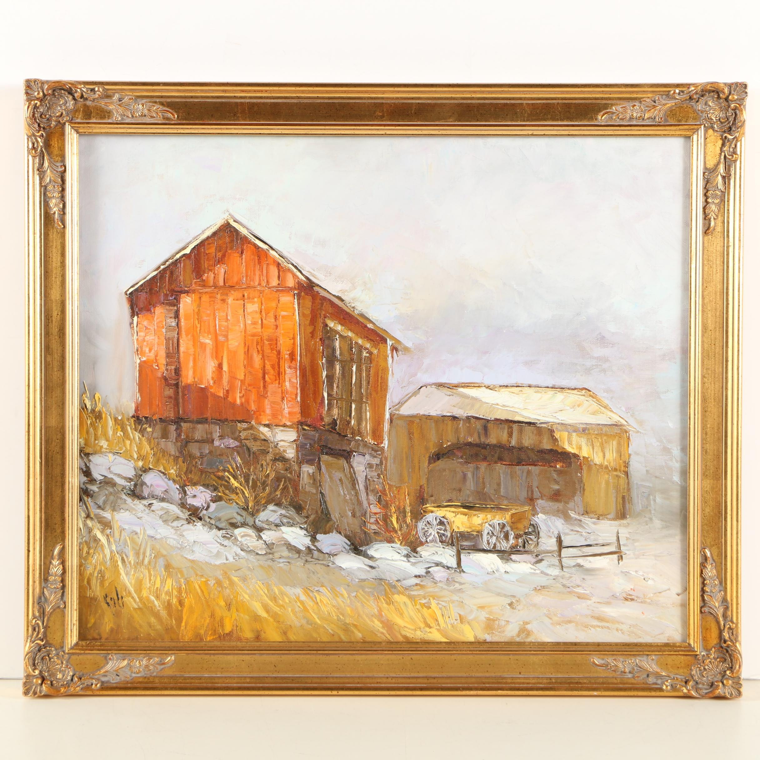 Oil Painting of a Farm Scene