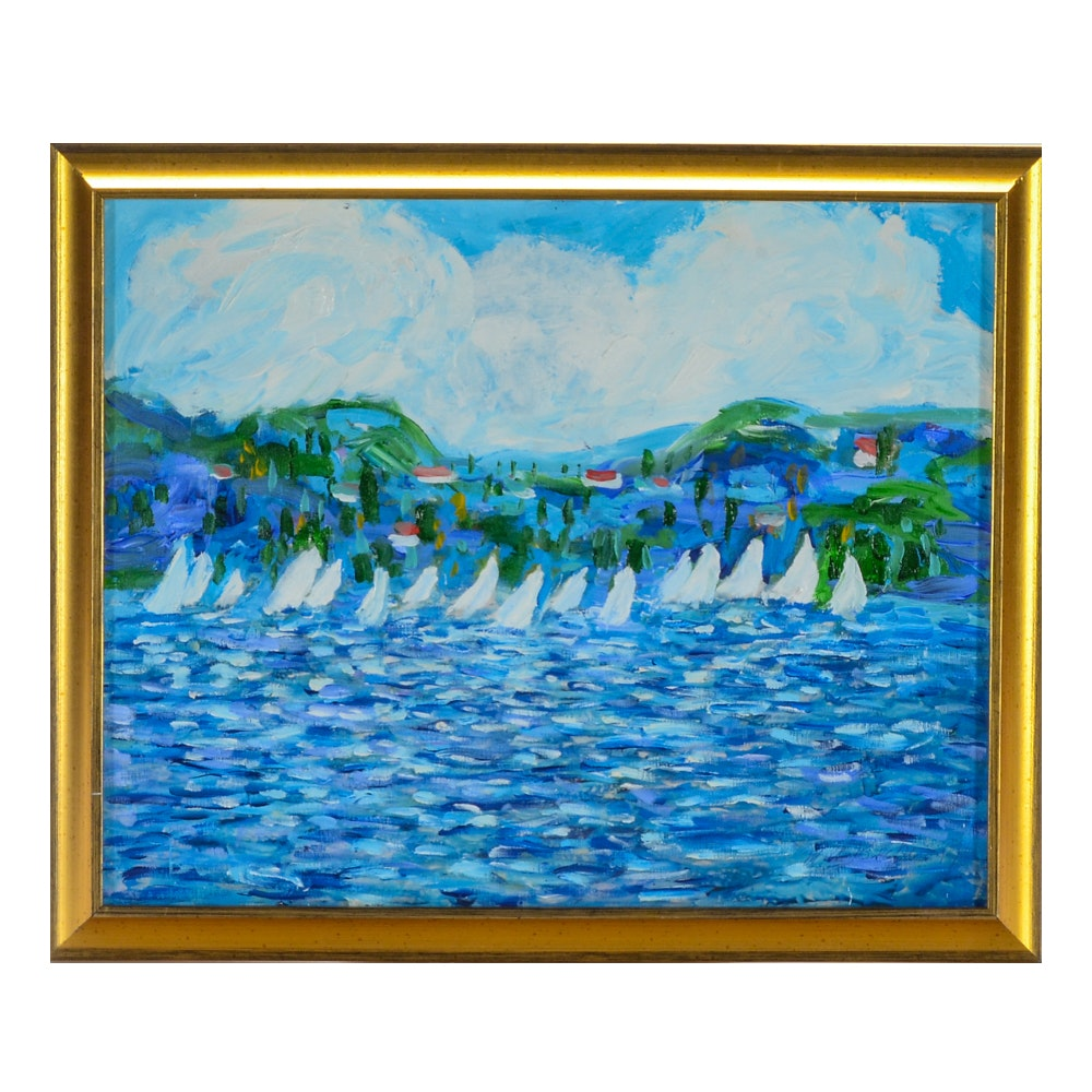 "Will Becker Acrylic Painting on Canvas ""Regatta on the Bay"""