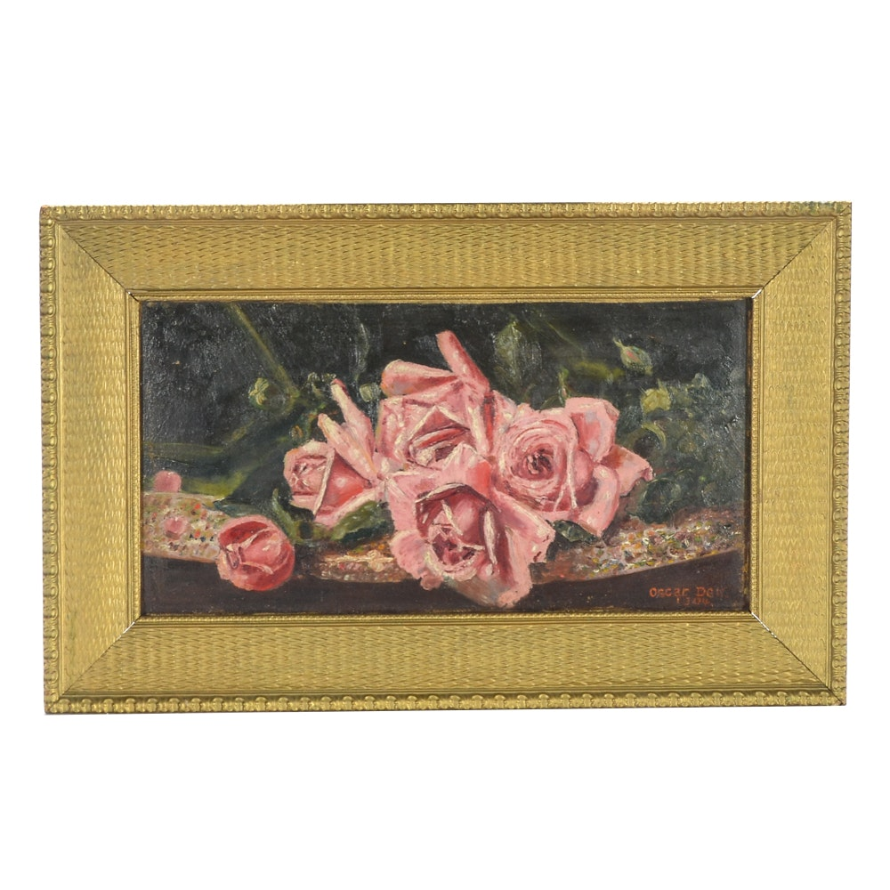 Oscar Dell Original Oil painting of Roses